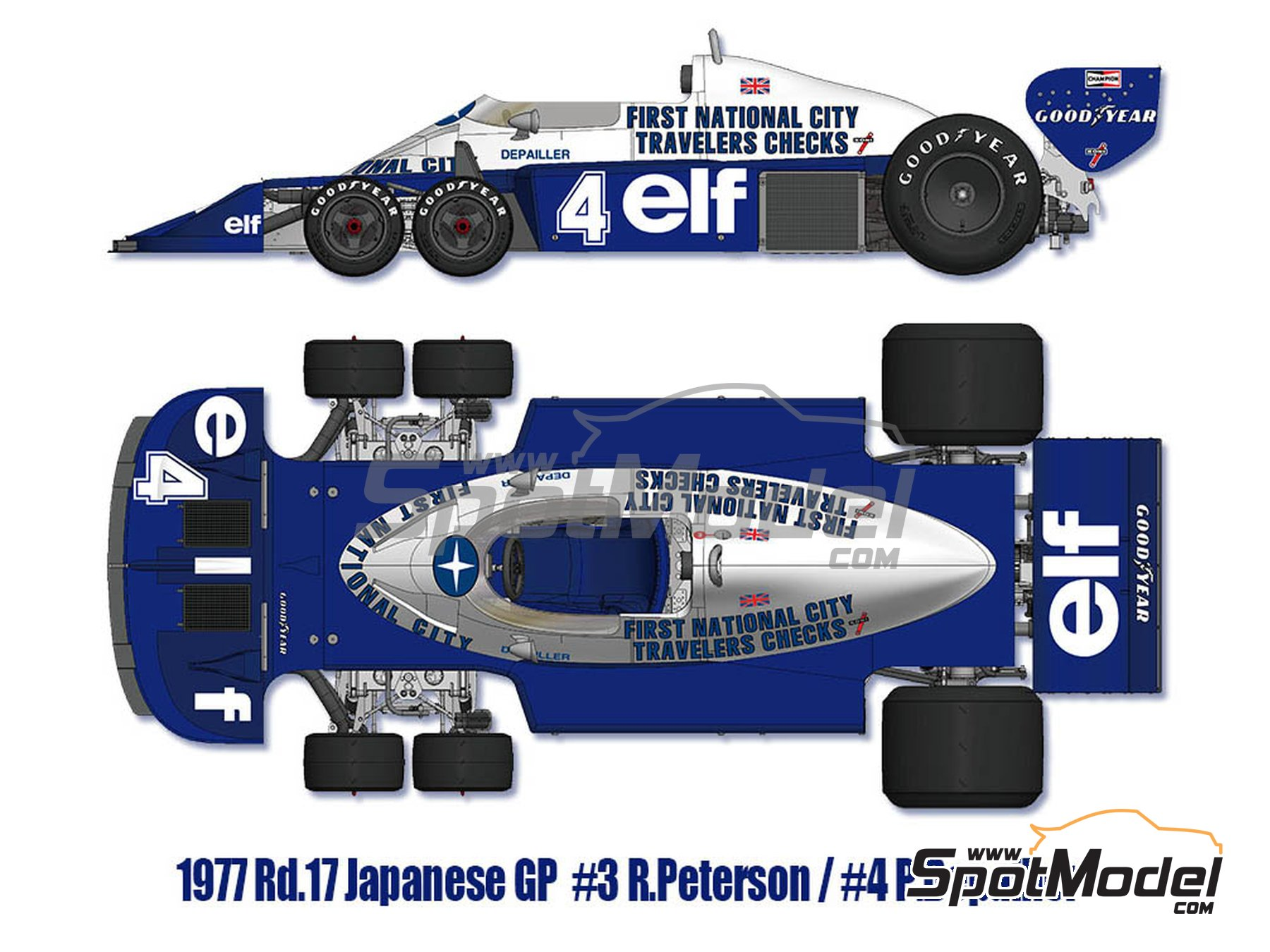 Image 1: Tyrrell Ford P34 ELF - Austrian Formula 1 Grand Prix, Dutch Formula 1 Grand Prix, Italian Formula 1 Grand Prix, Japanese Formula 1 Grand Prix 1977 | Model car kit in 1/12 scale manufactured by Model Factory Hiro (ref. MFH-K599, also K-599)