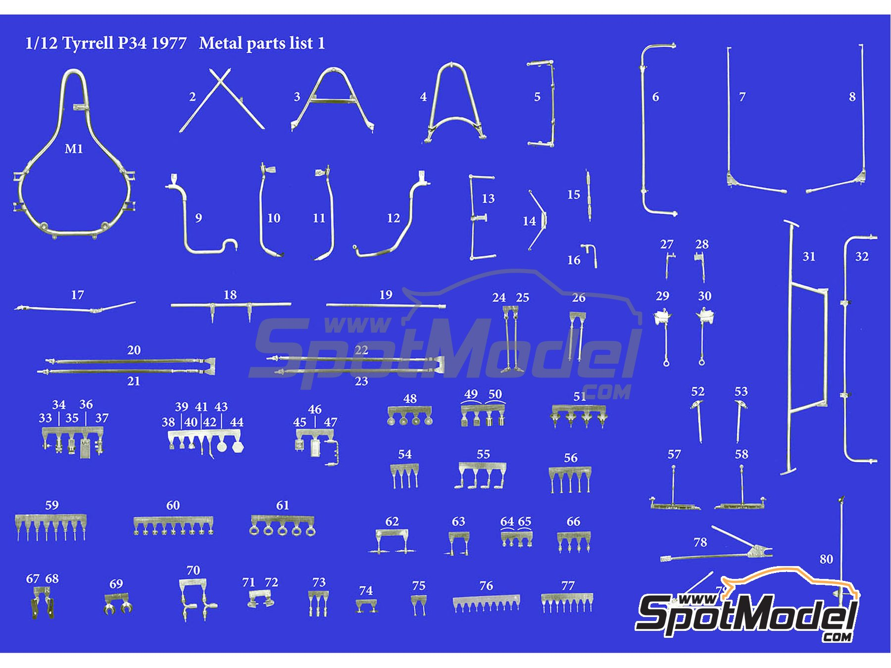 Image 14: Tyrrell Ford P34 ELF - Austrian Formula 1 Grand Prix, Dutch Formula 1 Grand Prix, Italian Formula 1 Grand Prix, Japanese Formula 1 Grand Prix 1977 | Model car kit in 1/12 scale manufactured by Model Factory Hiro (ref. MFH-K599, also K-599)