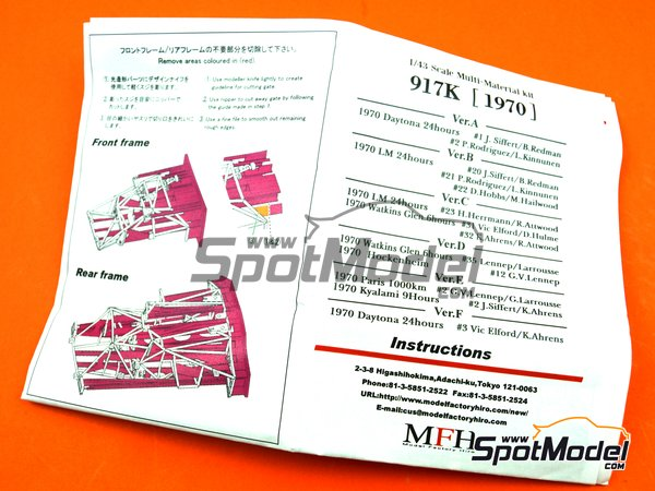 Image 13: Porsche 917K Gulf Automotive Engineering - 24 Hours Daytona 1970 | Model car kit in 1/43 scale manufactured by Model Factory Hiro (ref.MFH-K601, also K-601)