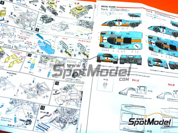 Image 14: Porsche 917K Gulf Automotive Engineering - 24 Hours Daytona 1970 | Model car kit in 1/43 scale manufactured by Model Factory Hiro (ref.MFH-K601, also K-601)