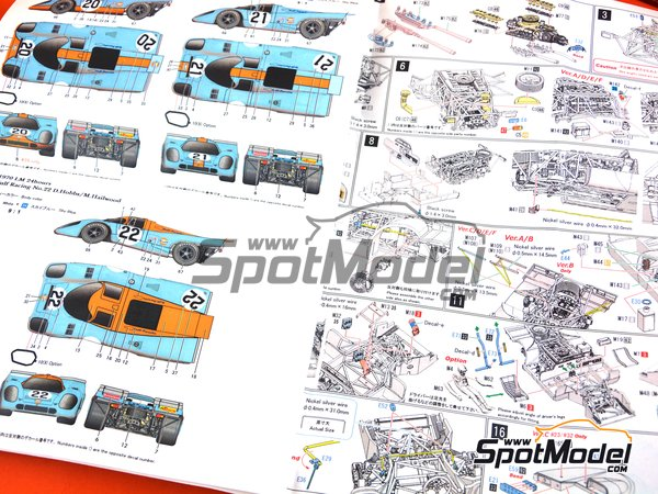 Image 3: Porsche 917K Gulf Automotive Engineering - 24 Hours Le Mans 1970 | Model car kit in 1/43 scale manufactured by Model Factory Hiro (ref. MFH-K602, also K-602)