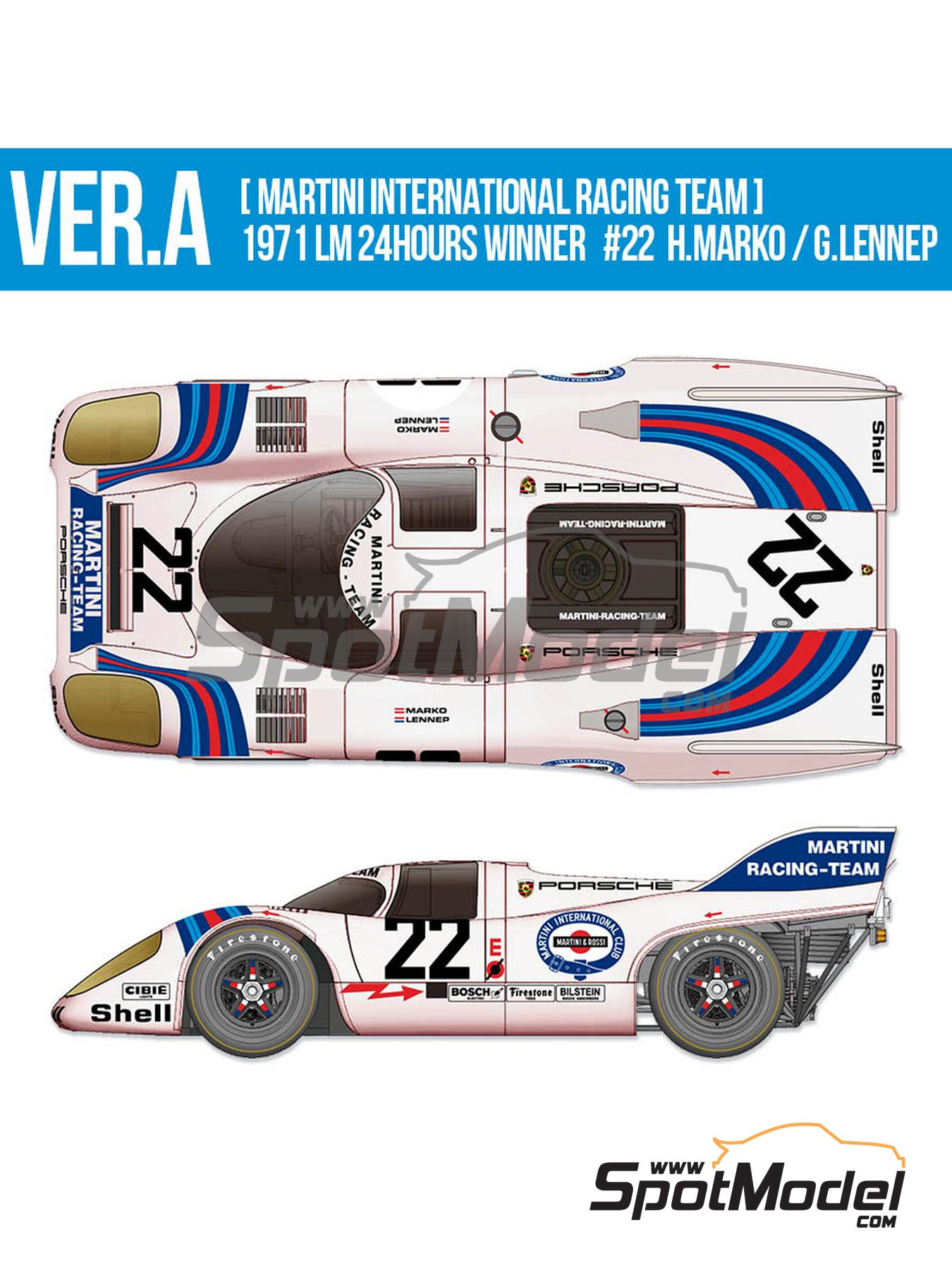 Porsche 917K Martini Racing Team - 24 Hours Le Mans 1971 | Model car kit in 1/12 scale manufactured by Model Factory Hiro (ref. MFH-K609) image
