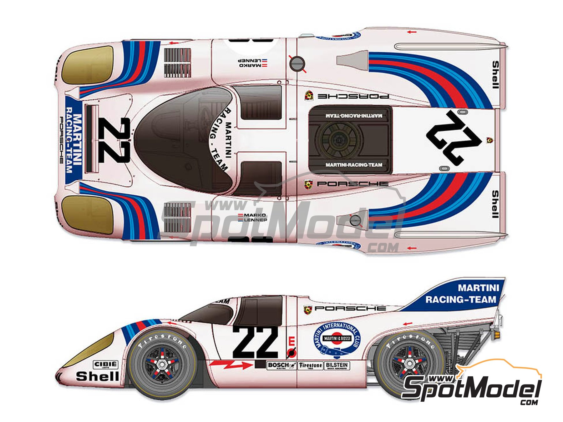 Image 1: Porsche 917K Martini Racing Team - 24 Hours Le Mans 1971 | Model car kit in 1/12 scale manufactured by Model Factory Hiro (ref. MFH-K609)