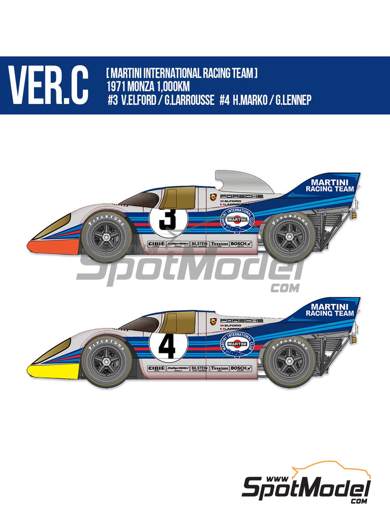 Porsche 917K Martini Racing Team - 1000 Kms Monza 1971 | Model car kit in 1/12 scale manufactured by Model Factory Hiro (ref. MFH-K611) image