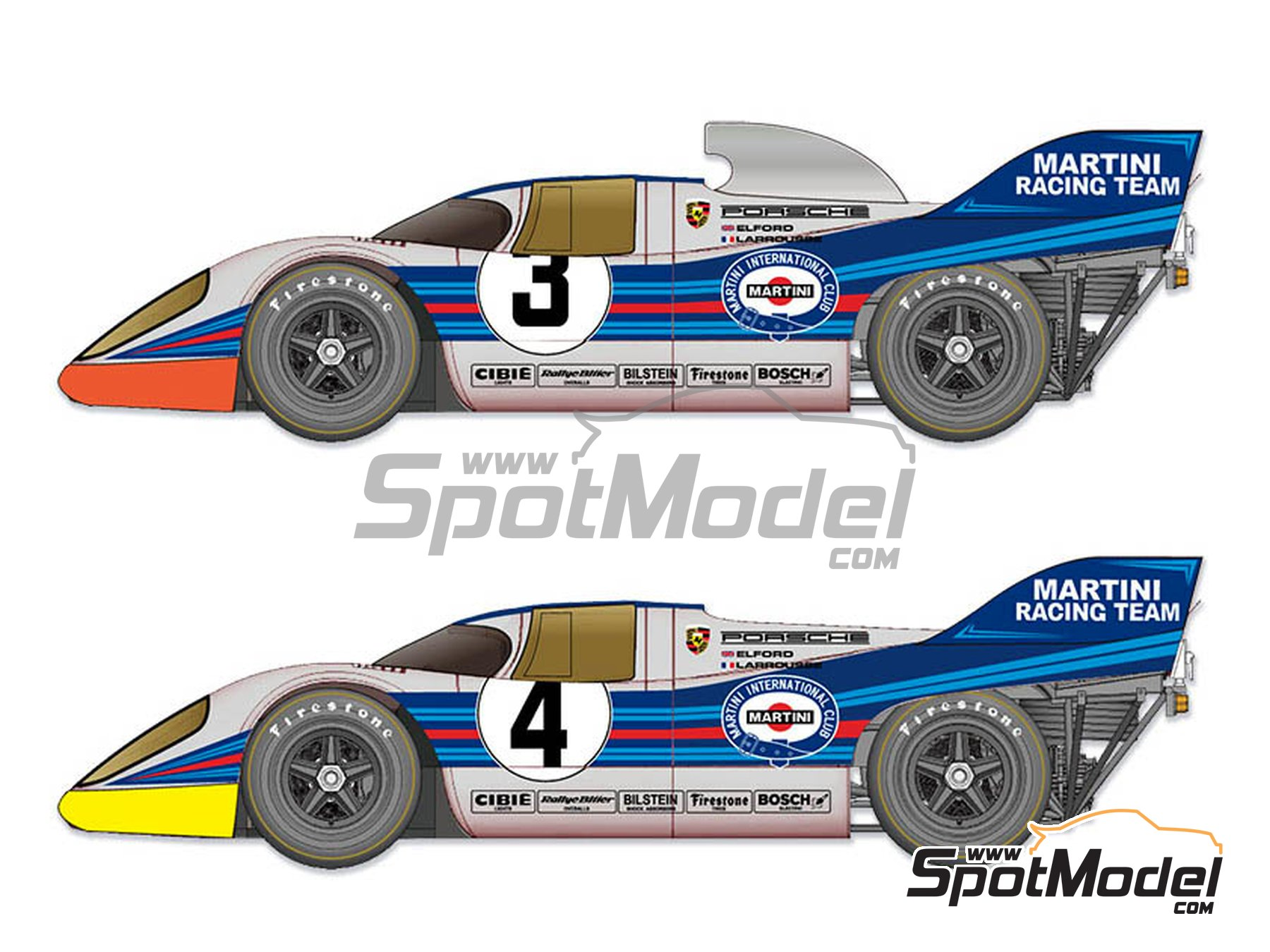 Image 1: Porsche 917K Martini Racing Team - 1000 Kms Monza 1971 | Model car kit in 1/12 scale manufactured by Model Factory Hiro (ref. MFH-K611)