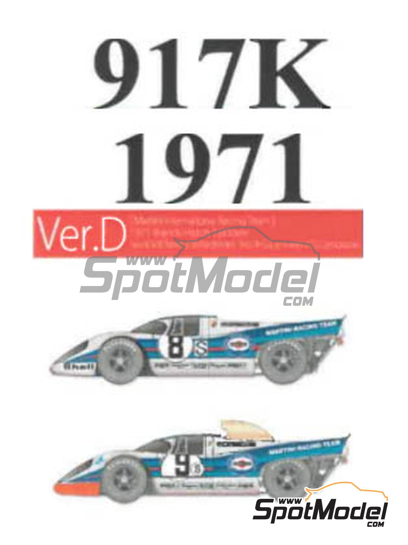Porsche 917K Martini International Racing Team - 1000 Kms Brands Hatch 1971 | Model car kit in 1/43 scale manufactured by Model Factory Hiro (ref. MFH-K615) image