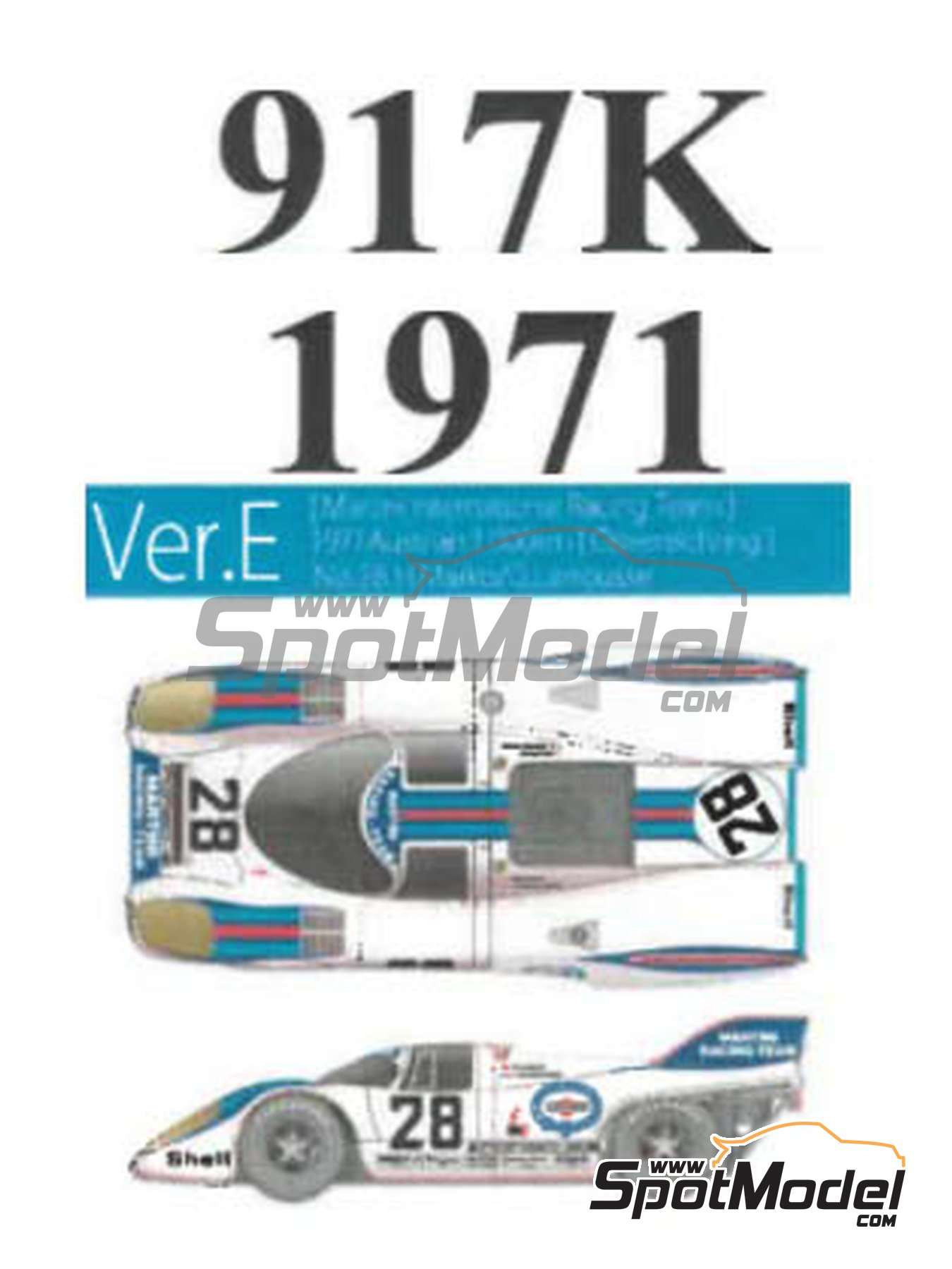 Porsche 917K Martini International Racing Team - 1000km Austrian Österreichring 1971 | Model car kit in 1/43 scale manufactured by Model Factory Hiro (ref. MFH-K616, also K-616) image