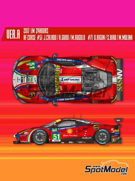 Ferrari 488 GTE AF Corse - 24 Hours Le Mans 2017 | Model car kit in 1/12 scale manufactured by Model Factory Hiro (ref. MFH-K617) image