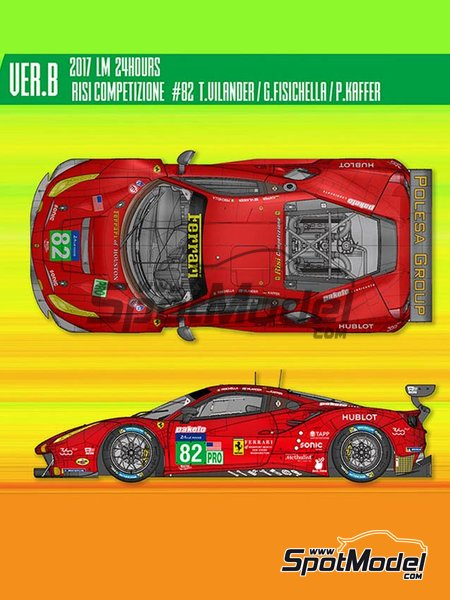 Ferrari 488 GTE Risi Competizione - 24 Hours Le Mans 2017 | Model car kit in 1/12 scale manufactured by Model Factory Hiro (ref. MFH-K618) image