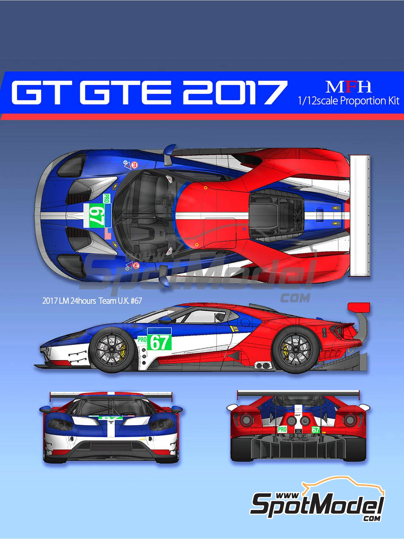 Ford GT GTE Team U.K., Team U.S.A. - 24 Hours Le Mans 2017 | Model car kit in 1/12 scale manufactured by Model Factory Hiro (ref. MFH-K619, also K-619) image