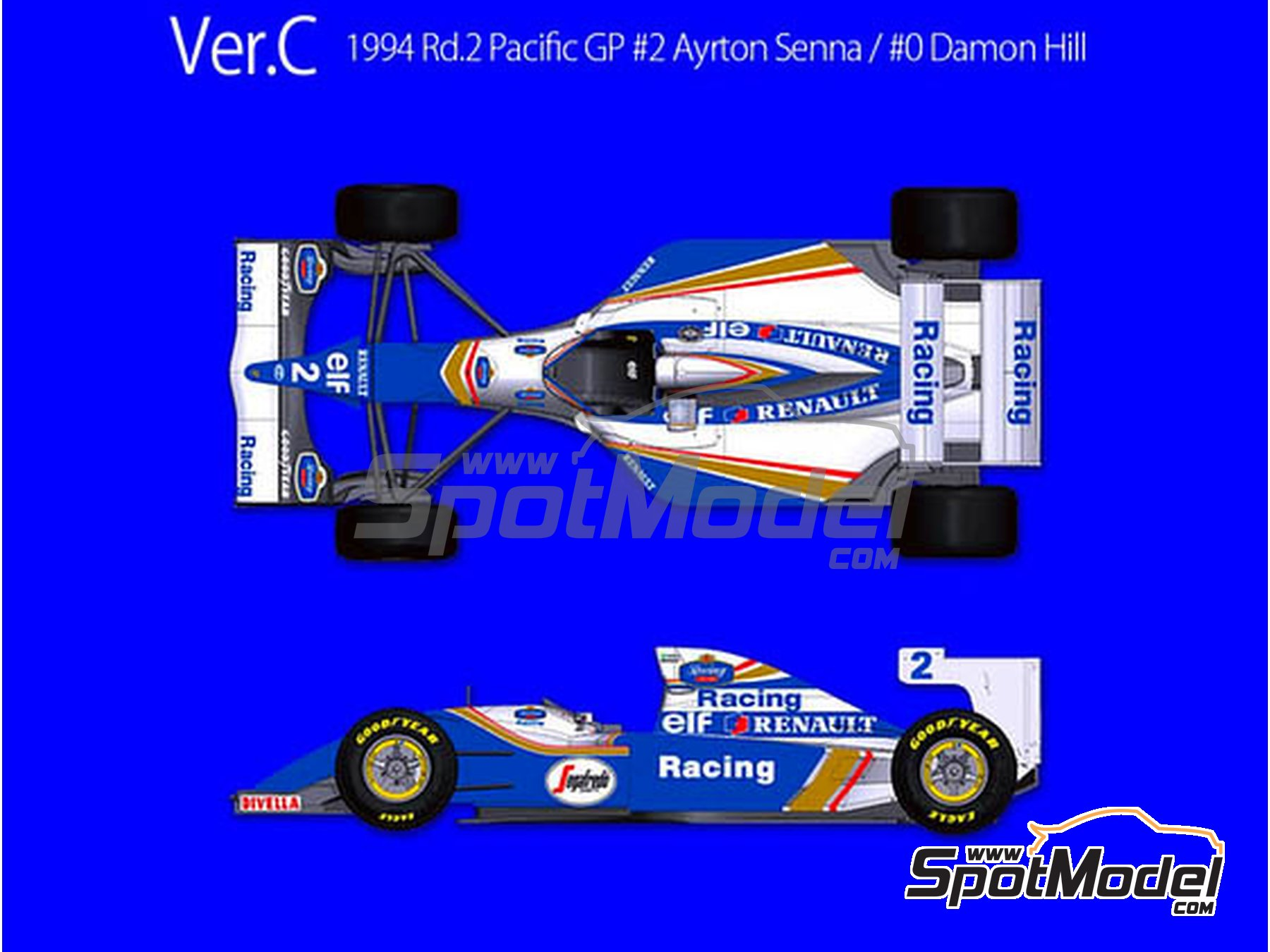 Image 1: Williams Renault FW16 - Pacific Grand Prix 1994 | Model car kit in 1/43 scale manufactured by Model Factory Hiro (ref. MFH-K620)