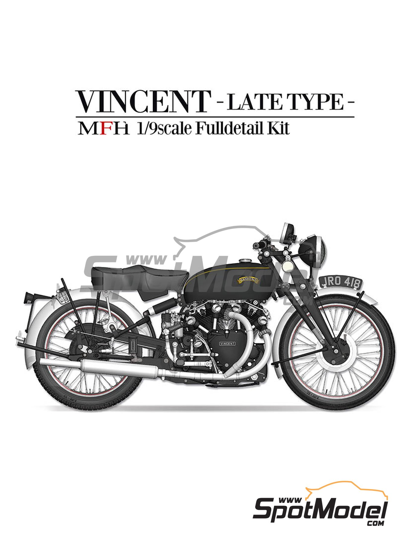 Vicent Black Shadow | Model bike kit in 1/9 scale manufactured by Model Factory Hiro (ref. MFH-K621) image