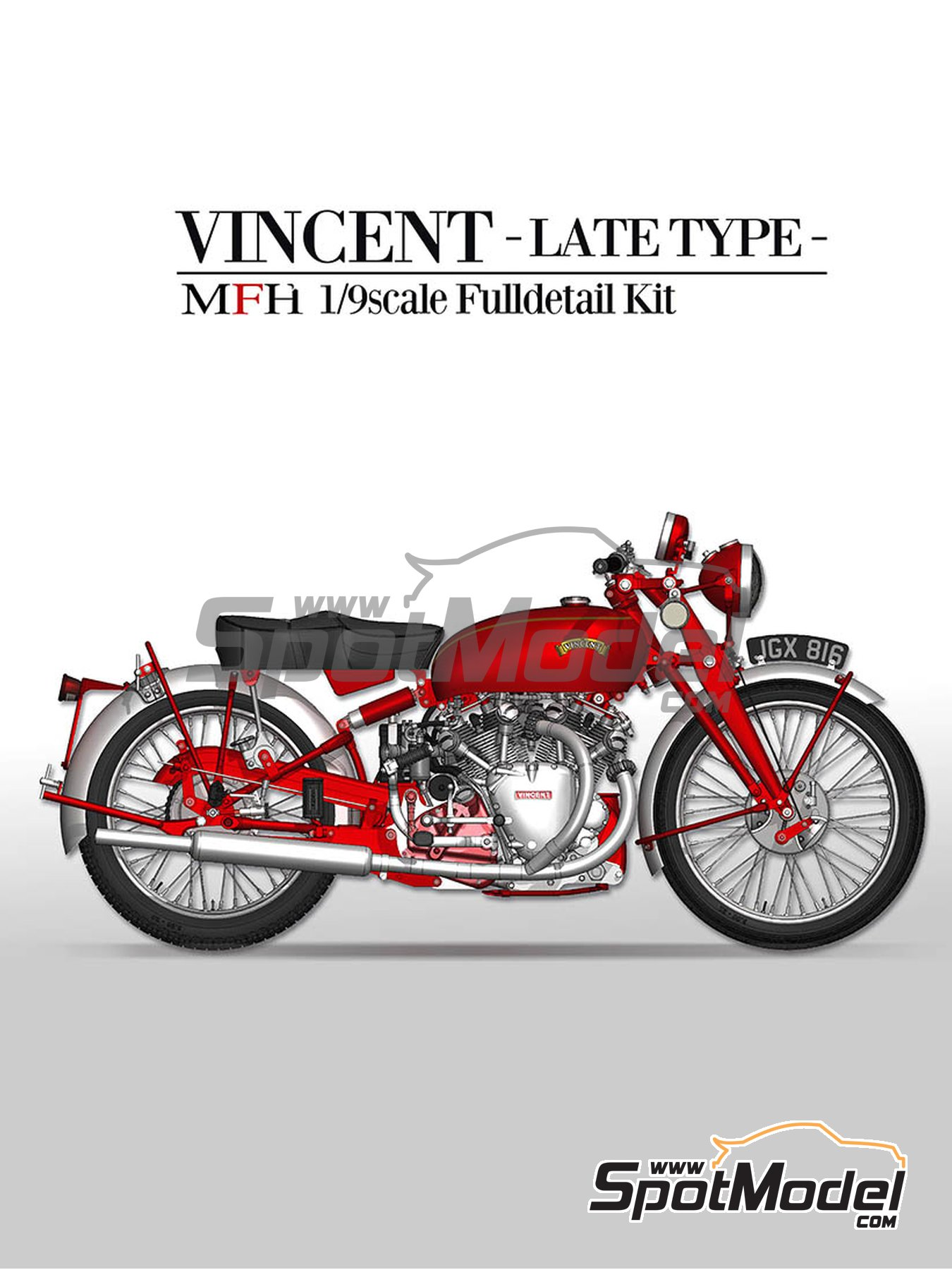 Vicent White Shadow | Model bike kit in 1/9 scale manufactured by Model Factory Hiro (ref. MFH-K622) image