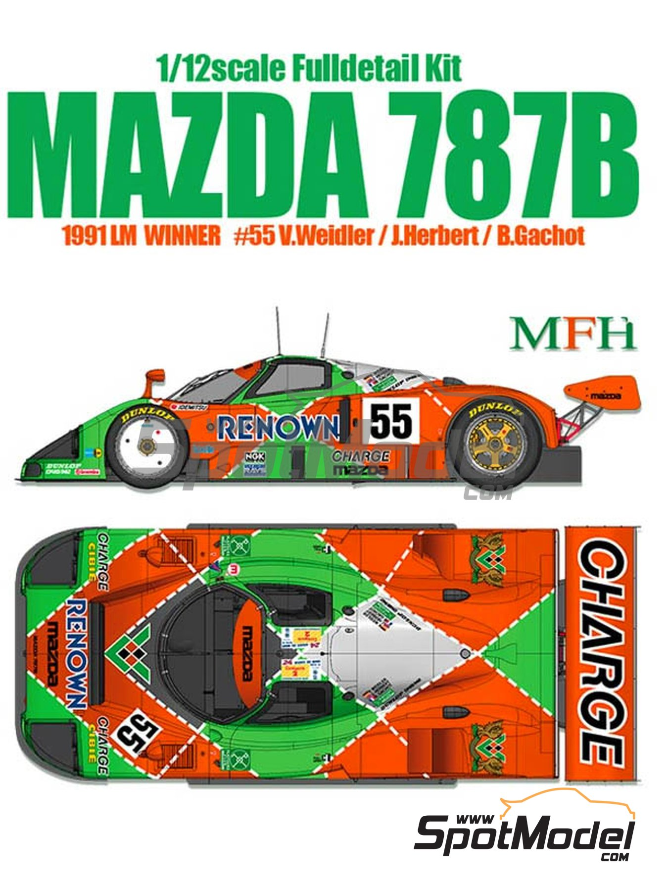 Mazda 787B Renown - 24 Hours Le Mans 1991 | Model car kit in 1/12 scale manufactured by Model Factory Hiro (ref. MFH-K628, also K-628) image