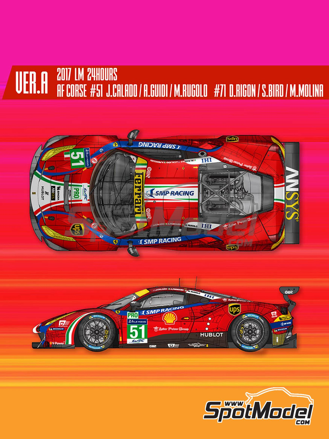 Ferrari 488 GTE AF Corse - 24 Hours Le Mans 2017 | Model car kit in 1/24 scale manufactured by Model Factory Hiro (ref. MFH-K629) image