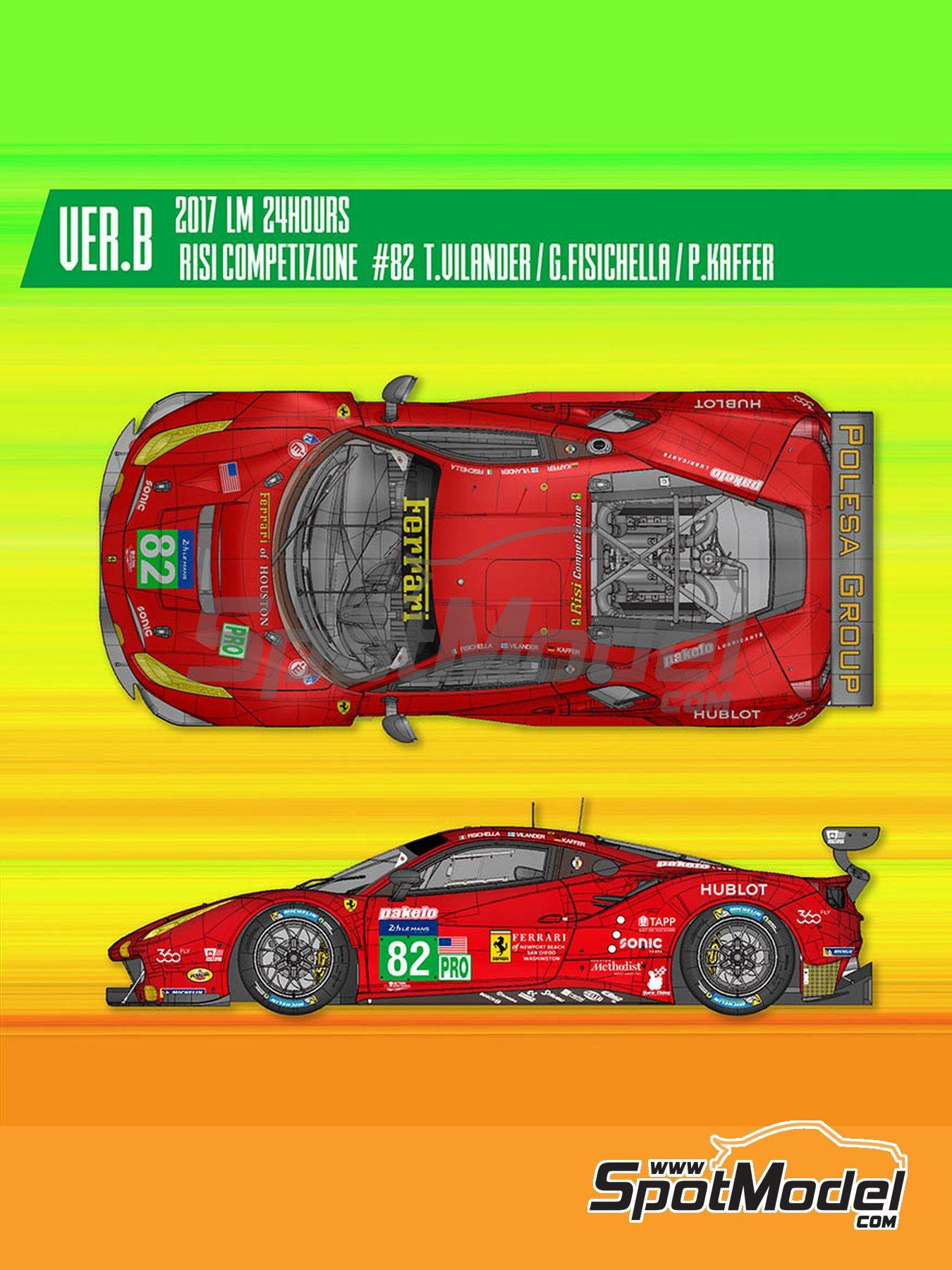 Ferrari 488 GTE Risi Competizione -  2017 | Maqueta de coche en escala1/24 fabricado por Model Factory Hiro (ref.MFH-K630) image