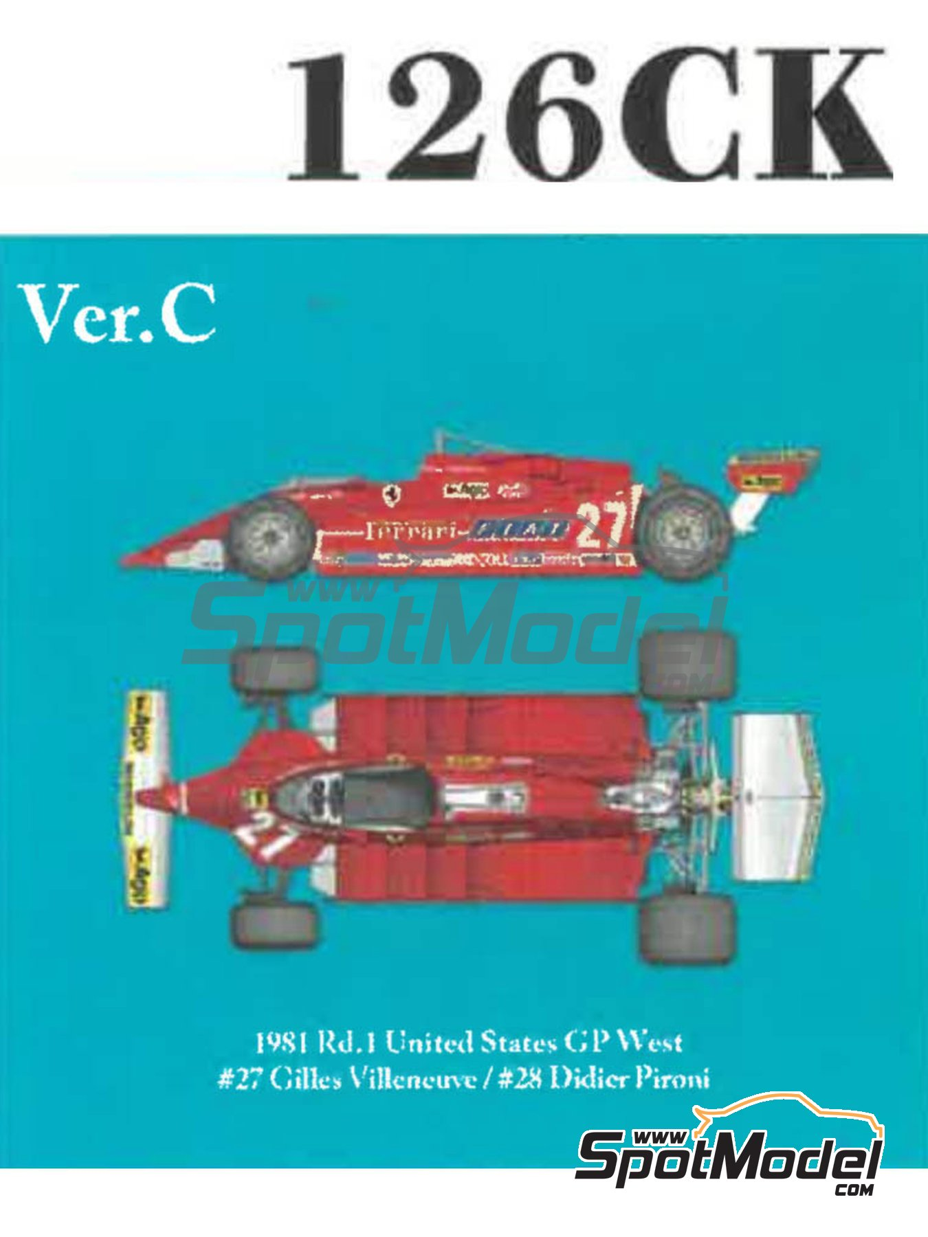 Ferrari 126CK Fiat Agip - USA West Long Beach Grand Prix 1981 | Model car kit in 1/12 scale manufactured by Model Factory Hiro (ref. MFH-K639) image