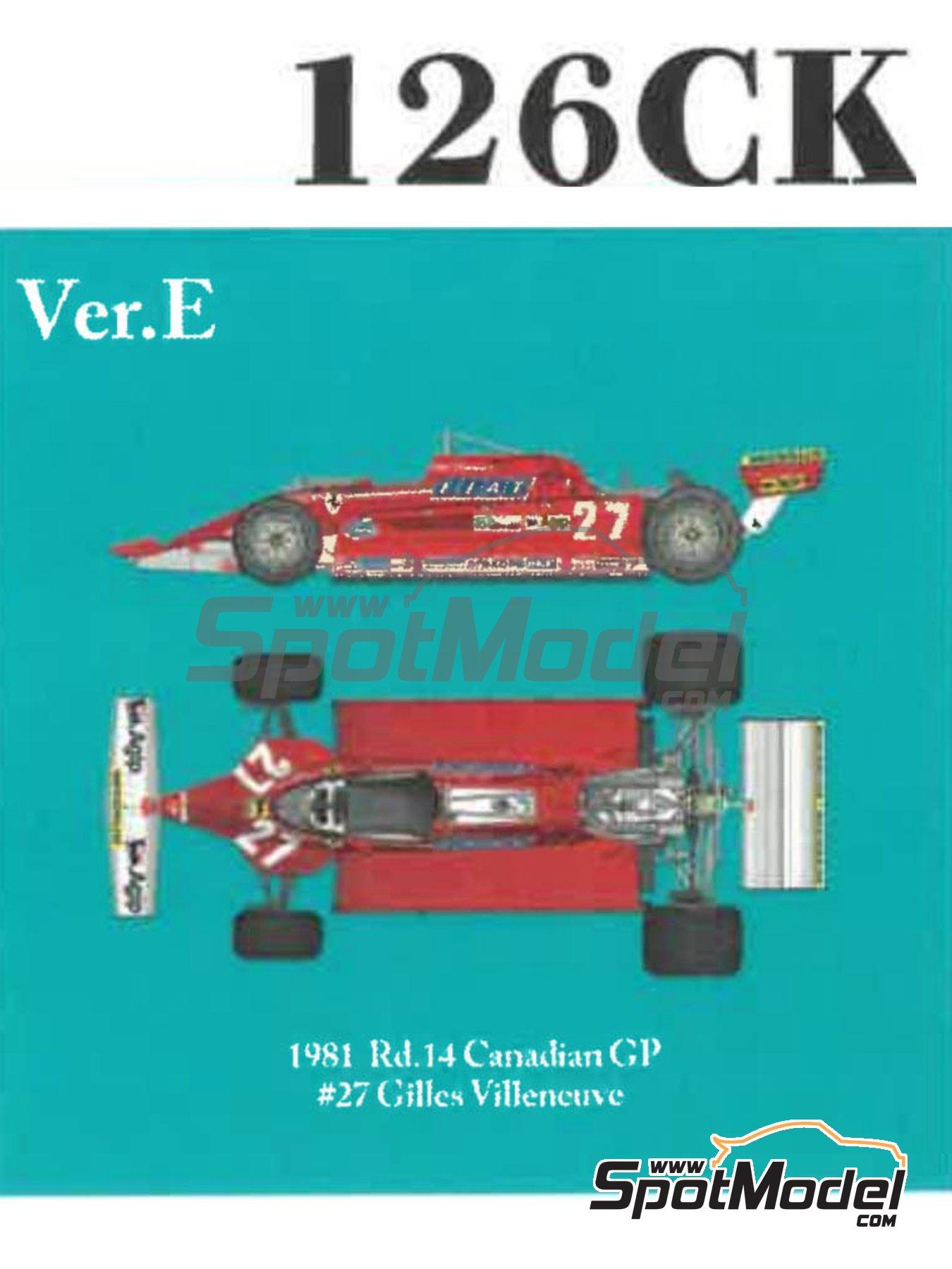 Ferrari 126CX Fiat Agip - Canadian Formula 1 Grand Prix 1981 | Model car kit in 1/12 scale manufactured by Model Factory Hiro (ref.MFH-K641, also K-641) image