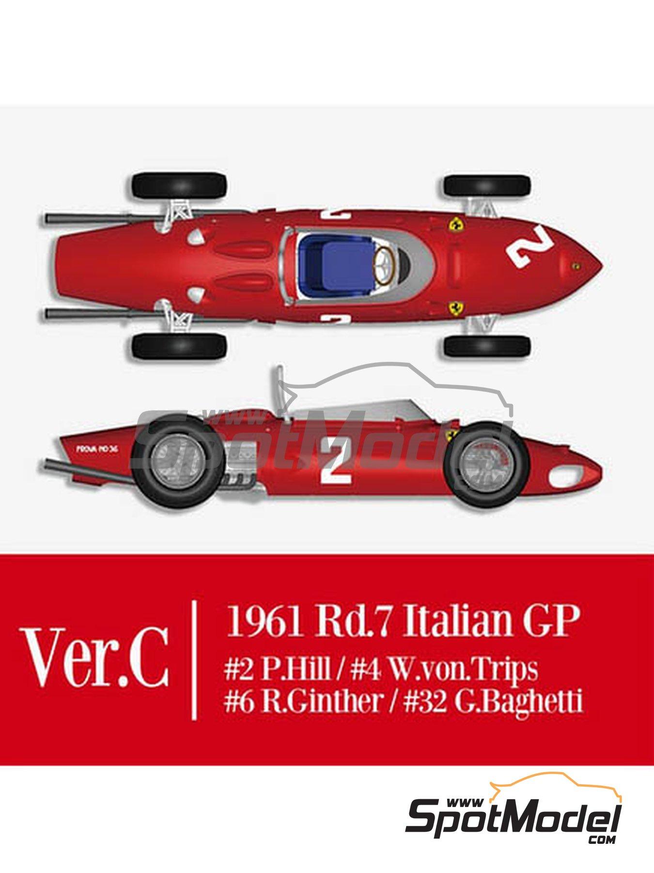 Ferrari 156 F1 Shark Nose - Italian Formula 1 Grand Prix 1961 | Model car kit in 1/12 scale manufactured by Model Factory Hiro (ref.MFH-K644) image