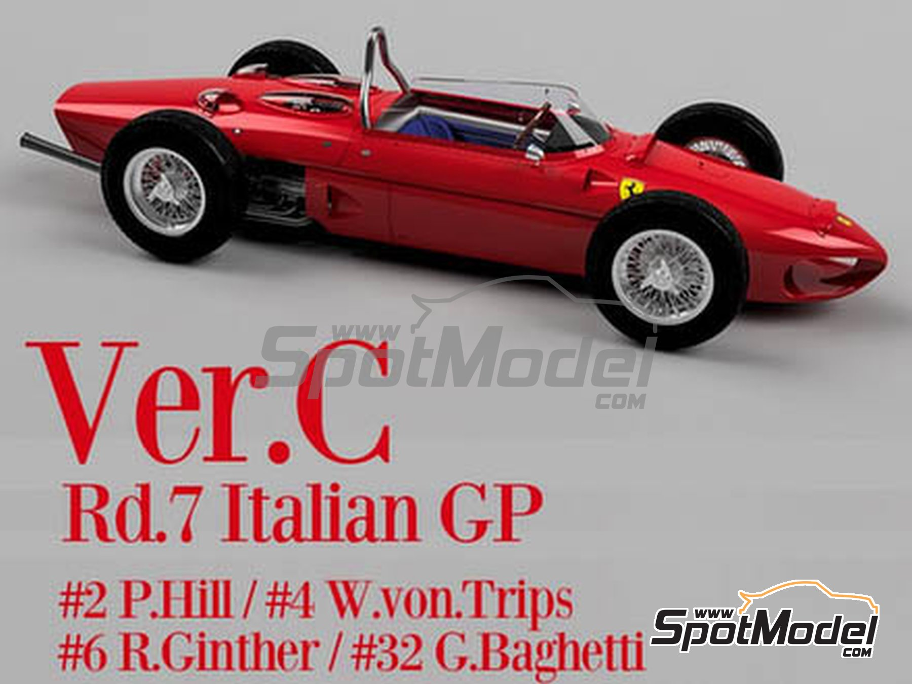 Image 1: Ferrari 156 F1 Shark Nose - Italian Formula 1 Grand Prix 1961 | Model car kit in 1/12 scale manufactured by Model Factory Hiro (ref.MFH-K644)