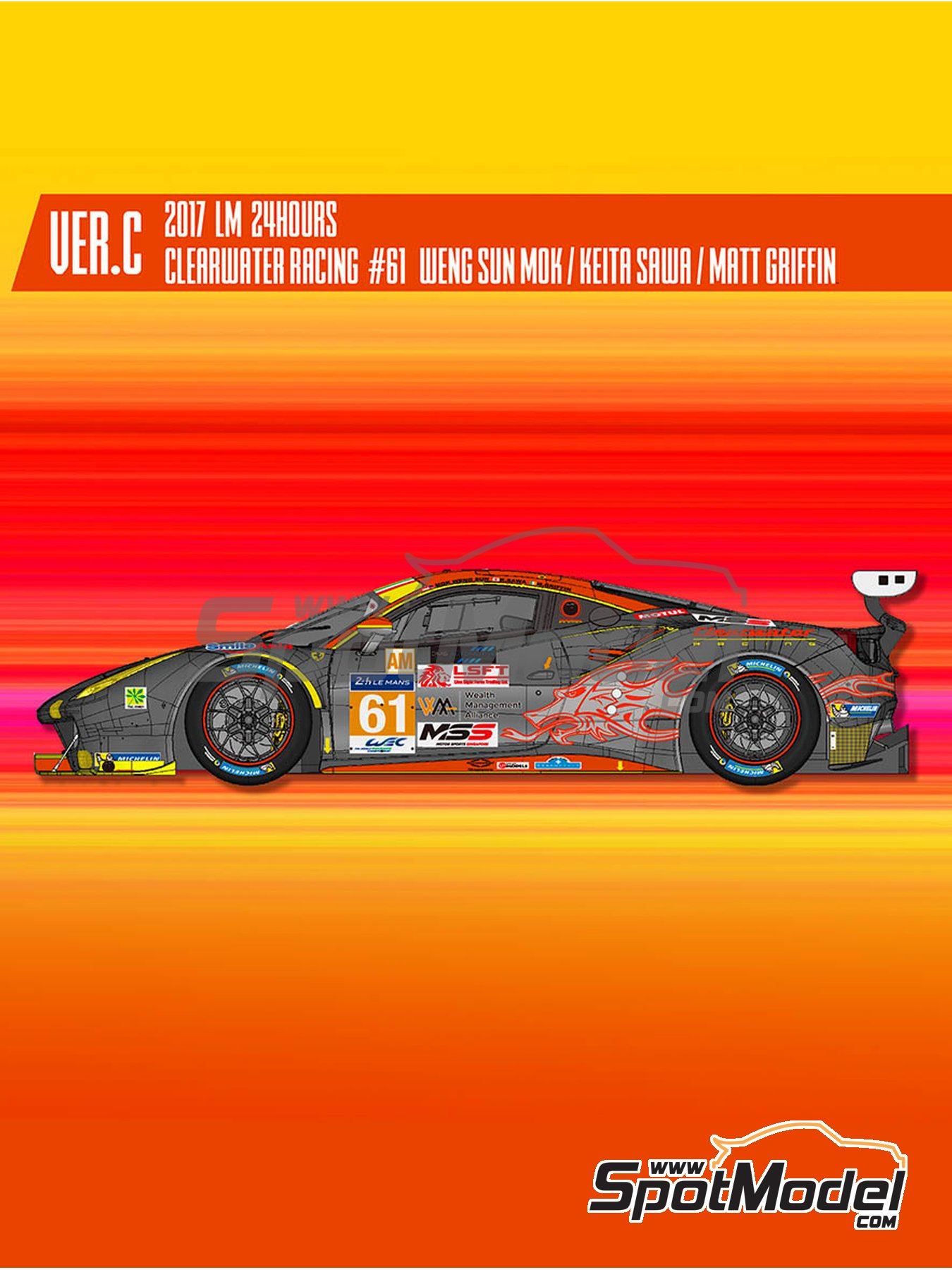Ferrari 488 GTE Clearwater Racing - 24 Hours Le Mans 2017 | Model car kit in 1/24 scale manufactured by Model Factory Hiro (ref. MFH-K645, also K-645) image