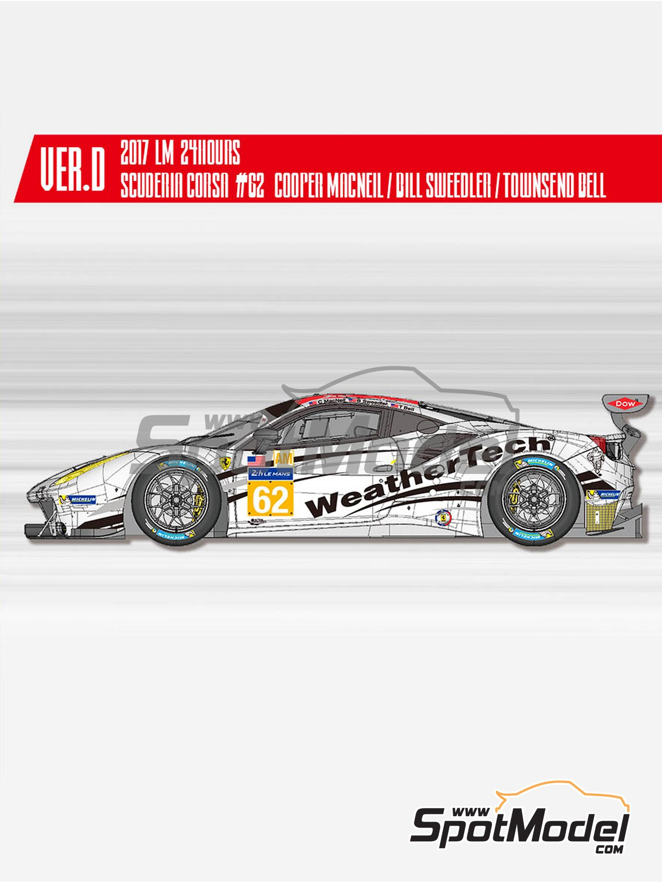 Ferrari 488 GTE Scuderia Corsa - 24 Hours Le Mans 2017 | Model car kit in 1/24 scale manufactured by Model Factory Hiro (ref. MFH-K646, also K-646) image