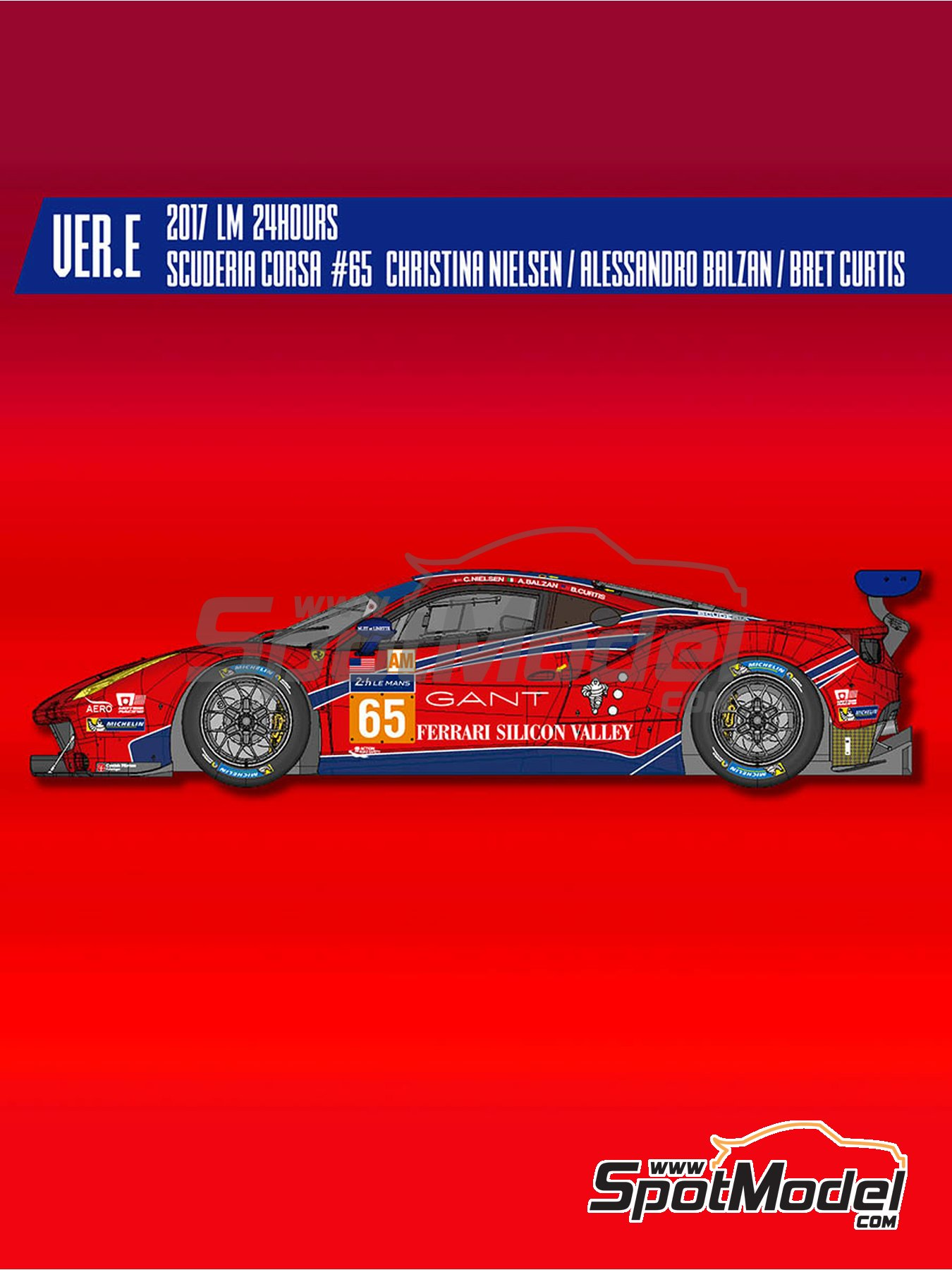 Ferrari 488 GTE Scuderia Corsa - 24 Hours Le Mans 2017 | Model car kit in 1/24 scale manufactured by Model Factory Hiro (ref. MFH-K647) image