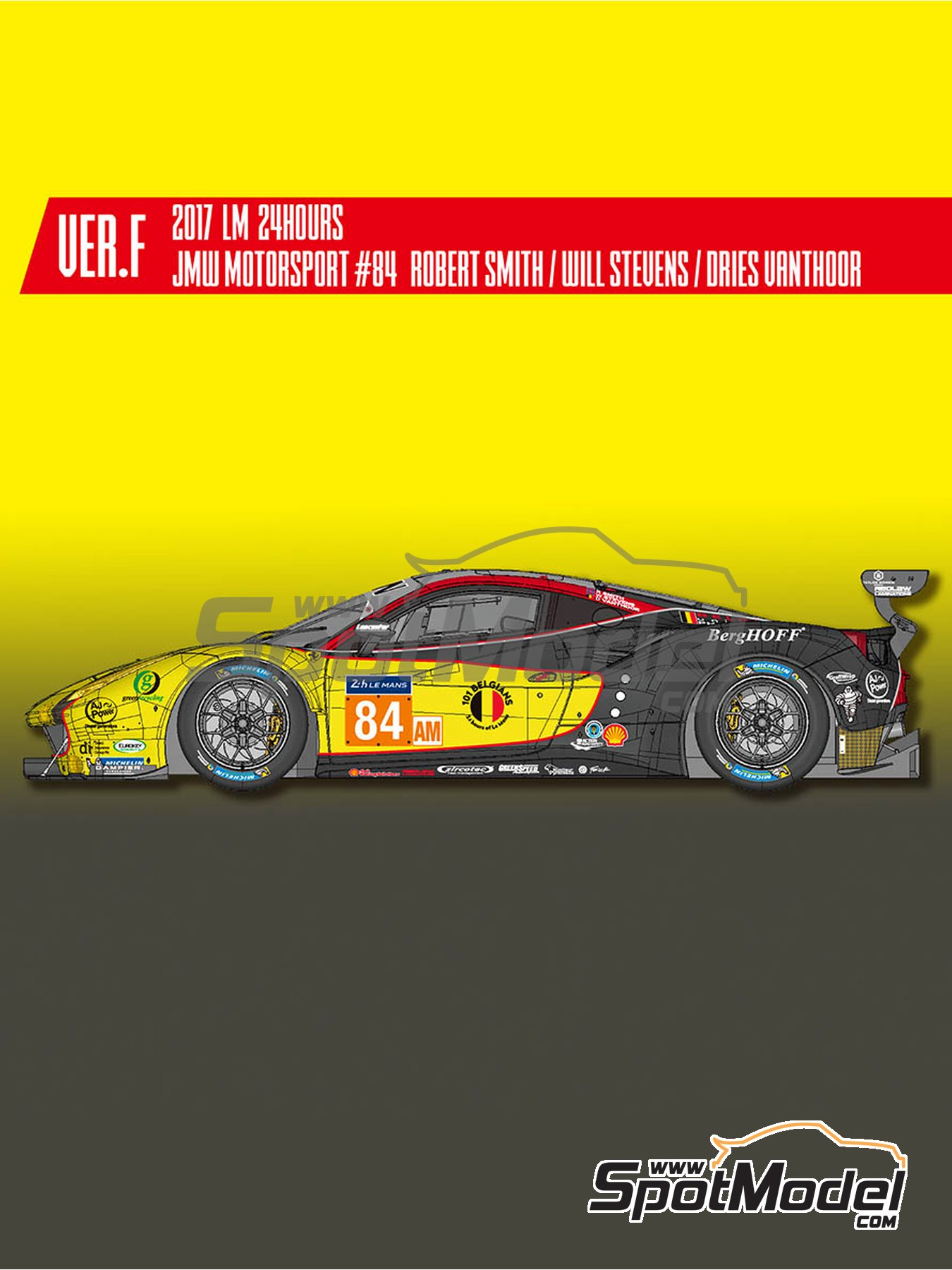 Ferrari 488 GTE JMW Motorsport - 24 Hours Le Mans 2017 | Model car kit in 1/24 scale manufactured by Model Factory Hiro (ref. MFH-K648) image