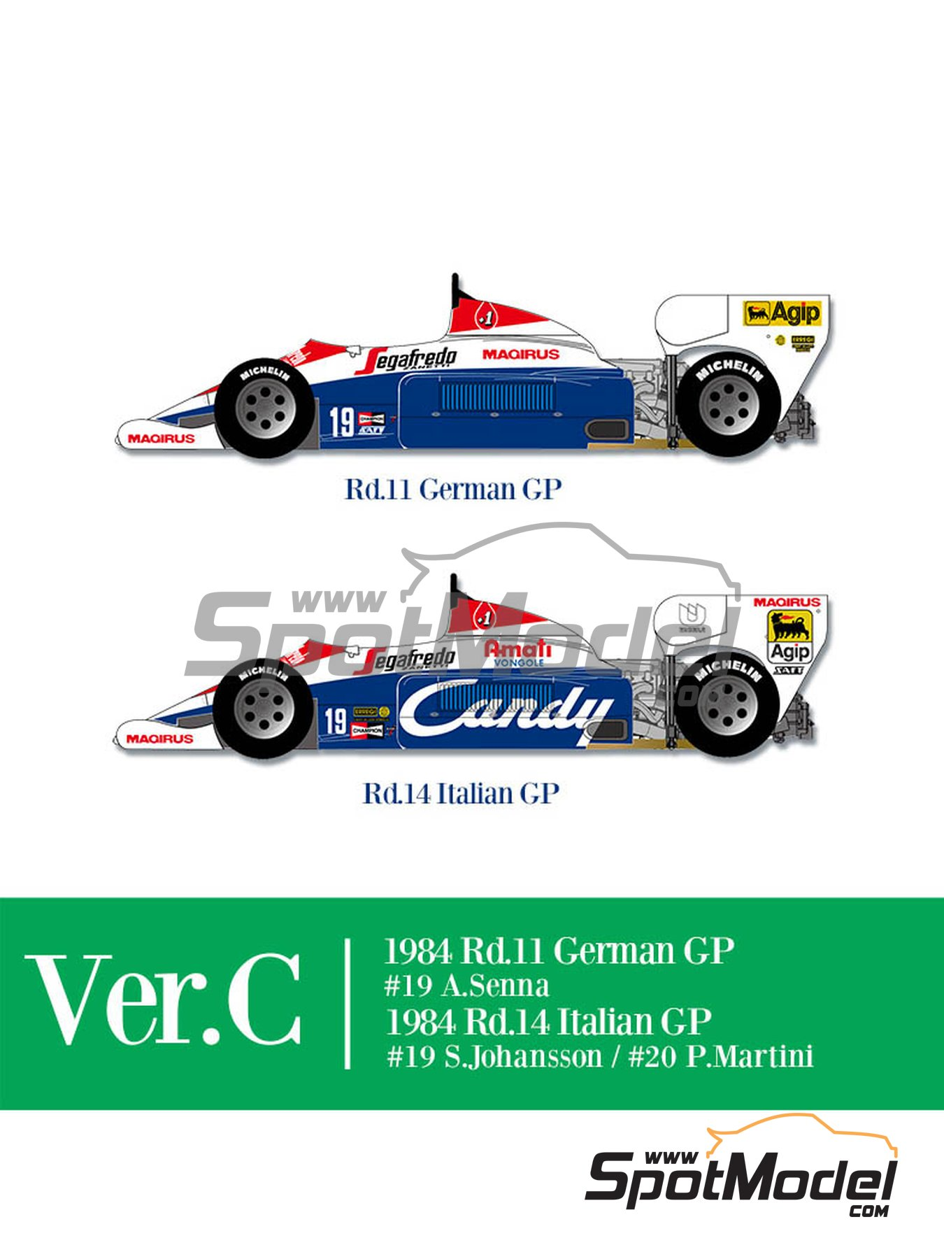 Toleman Hart TG184 Candy - German Formula 1 Grand Prix, Italian Formula 1 Grand Prix 1984 | Model car kit in 1/12 scale manufactured by Model Factory Hiro (ref. MFH-K652, also K-652) image