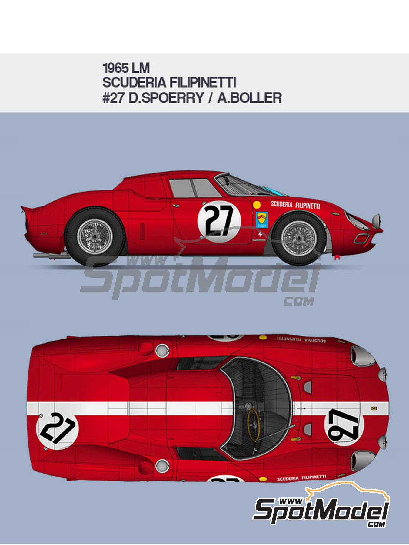 Ferrari 250LM Scuderia Filipinetti - 24 Hours Le Mans 1965 | Model car kit in 1/12 scale manufactured by Model Factory Hiro (ref. MFH-K656, also K-656) image