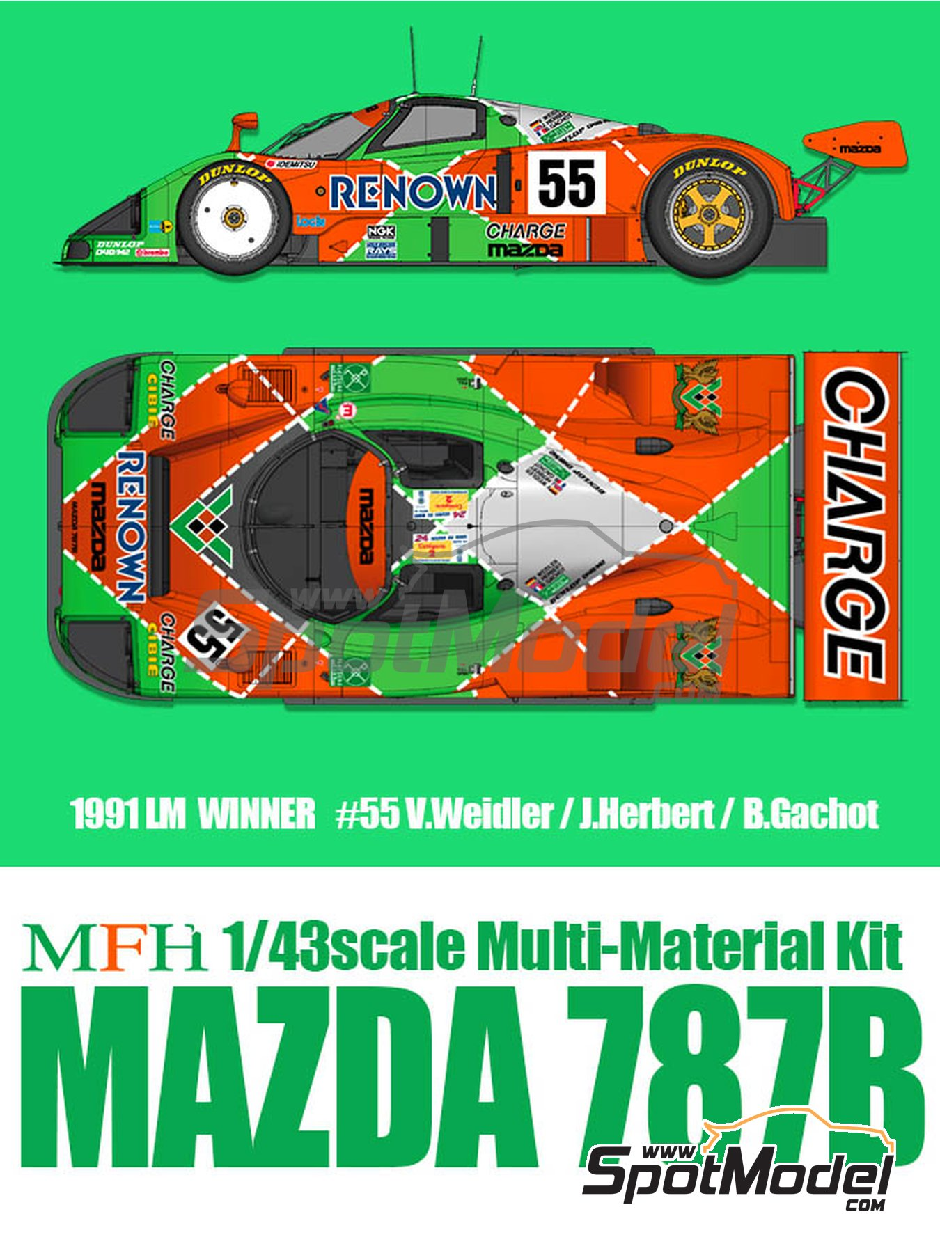 Mazda 787B Renown - 24 Hours Le Mans 1991 | Model car kit in 1/43 scale manufactured by Model Factory Hiro (ref. MFH-K657, also K-657) image