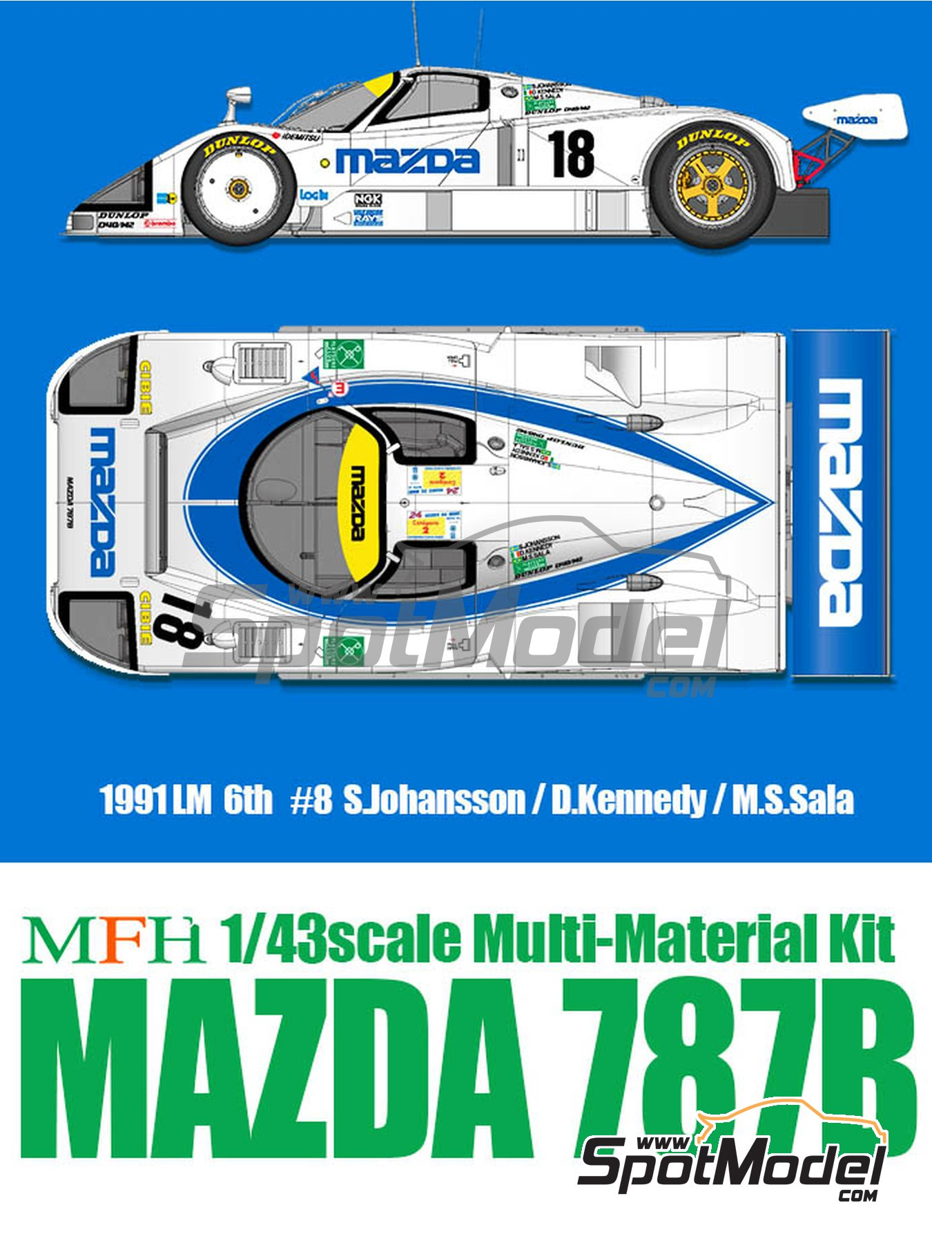 Mazda 787B Mazda - 24 Hours Le Mans 1991 | Model car kit in 1/43 scale manufactured by Model Factory Hiro (ref.MFH-K658, also K-658) image