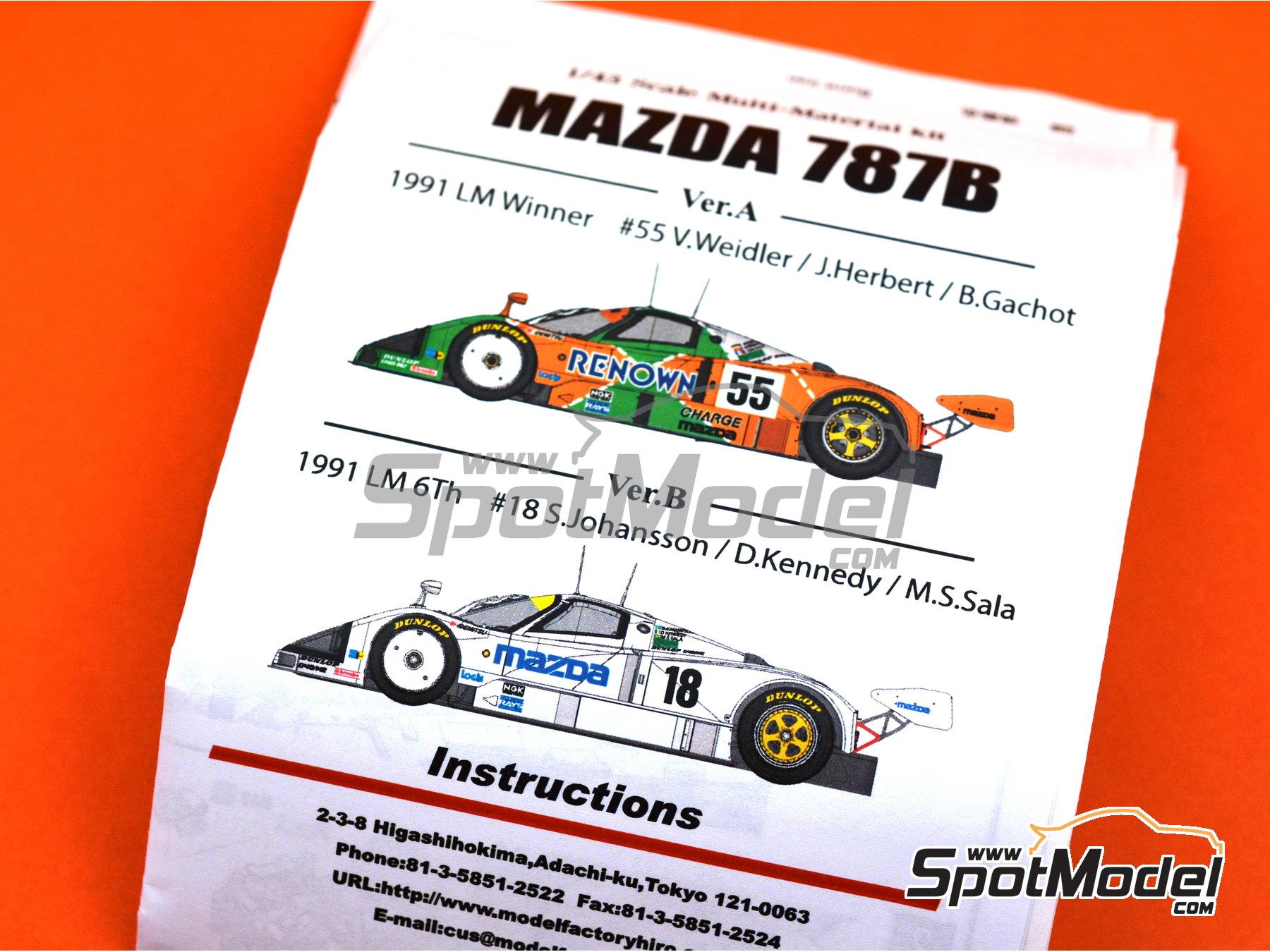 Image 15: Mazda 787B Mazda - 24 Hours Le Mans 1991 | Model car kit in 1/43 scale manufactured by Model Factory Hiro (ref.MFH-K658, also K-658)