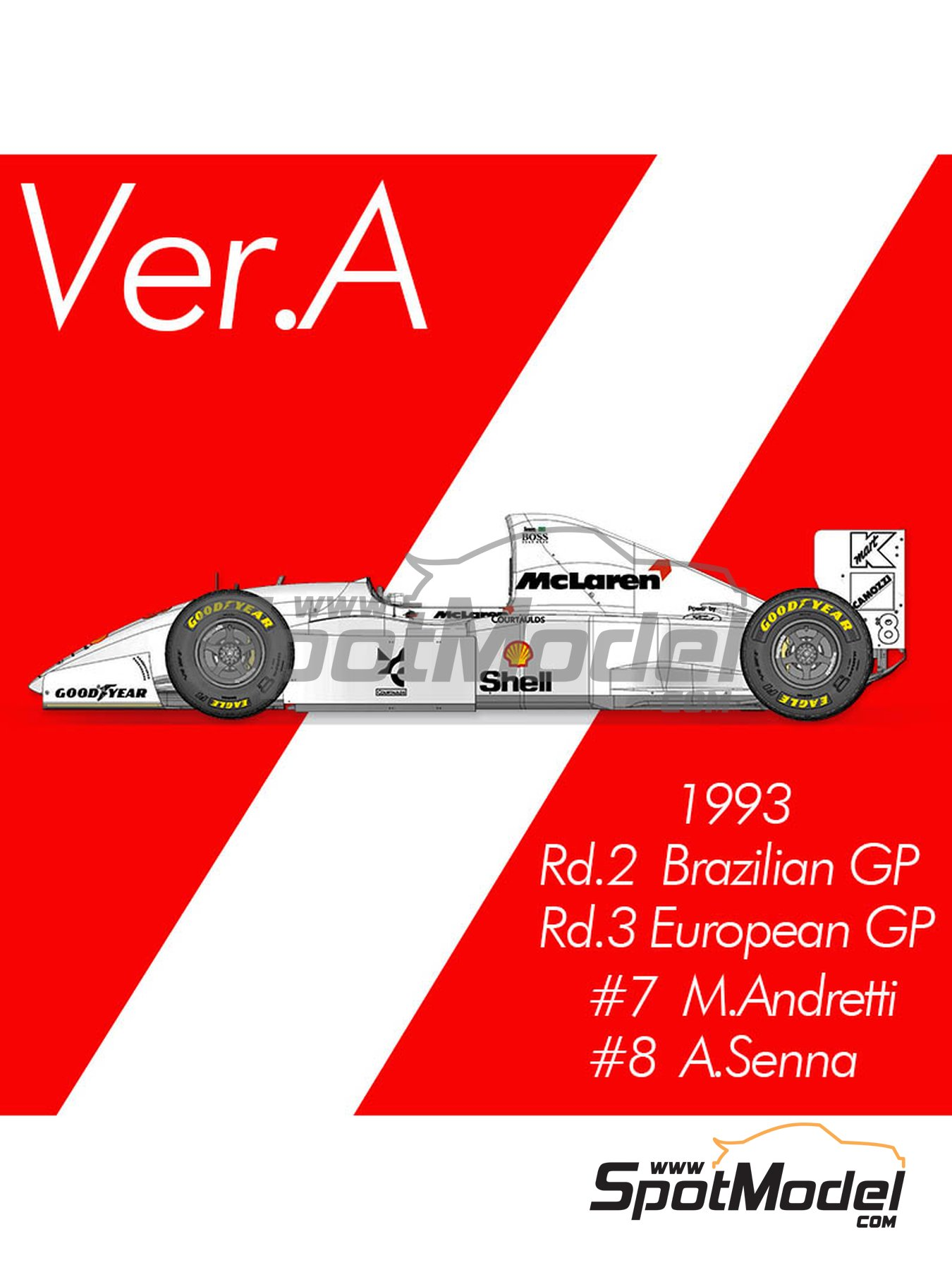 McLaren Ford MP4/8 Marlboro - Brazilian Formula 1 Grand Prix, European Formula 1 Grand Prix 1993 | Model car kit in 1/12 scale manufactured by Model Factory Hiro (ref. MFH-K659, also K-659) image