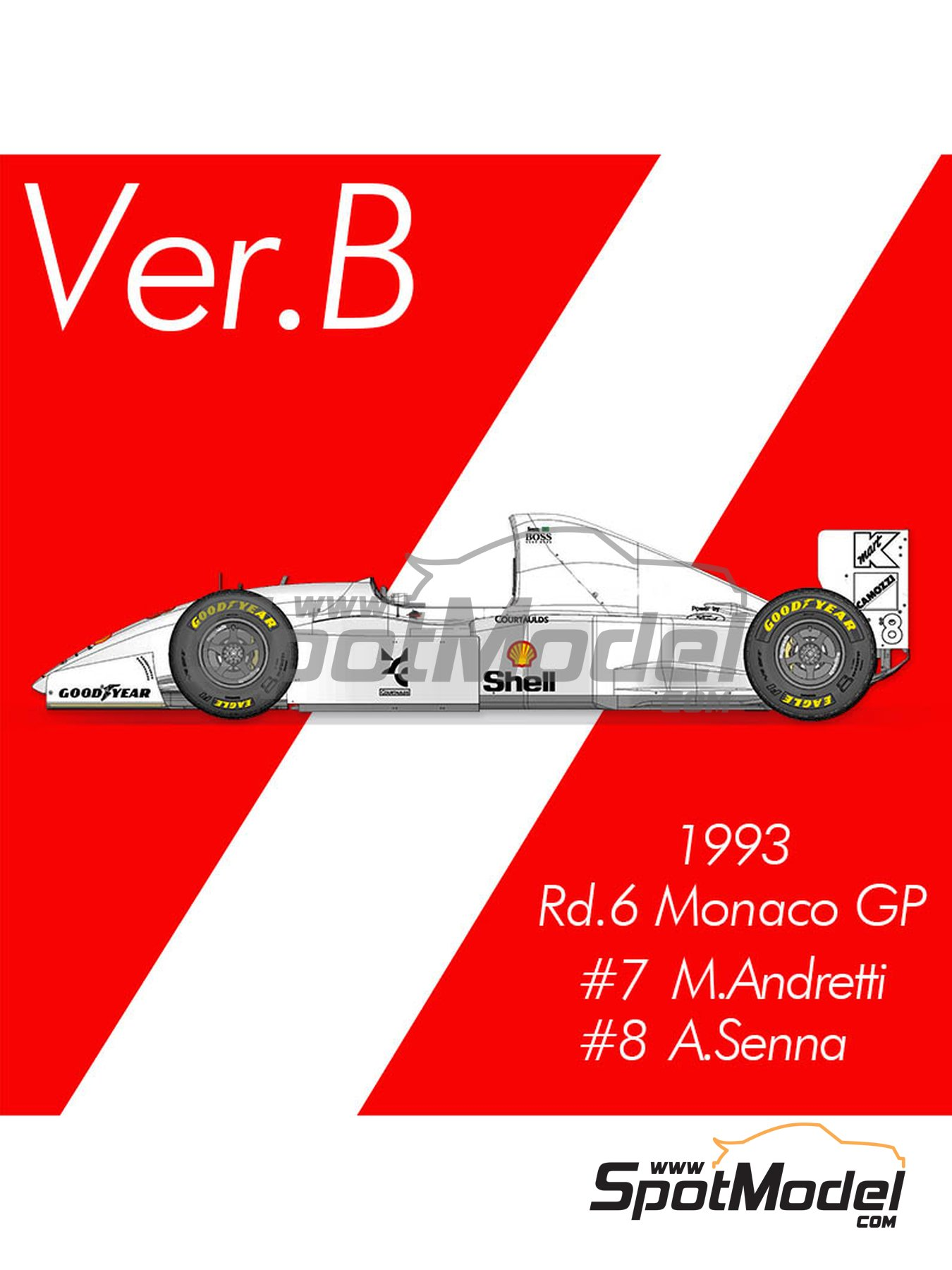 McLaren Ford MP4/8 Marlboro - Gran Premio de Formula 1 de Mónaco 1993 | Maqueta de coche en escala1/12 fabricado por Model Factory Hiro (ref.MFH-K660, tambien K-660) image