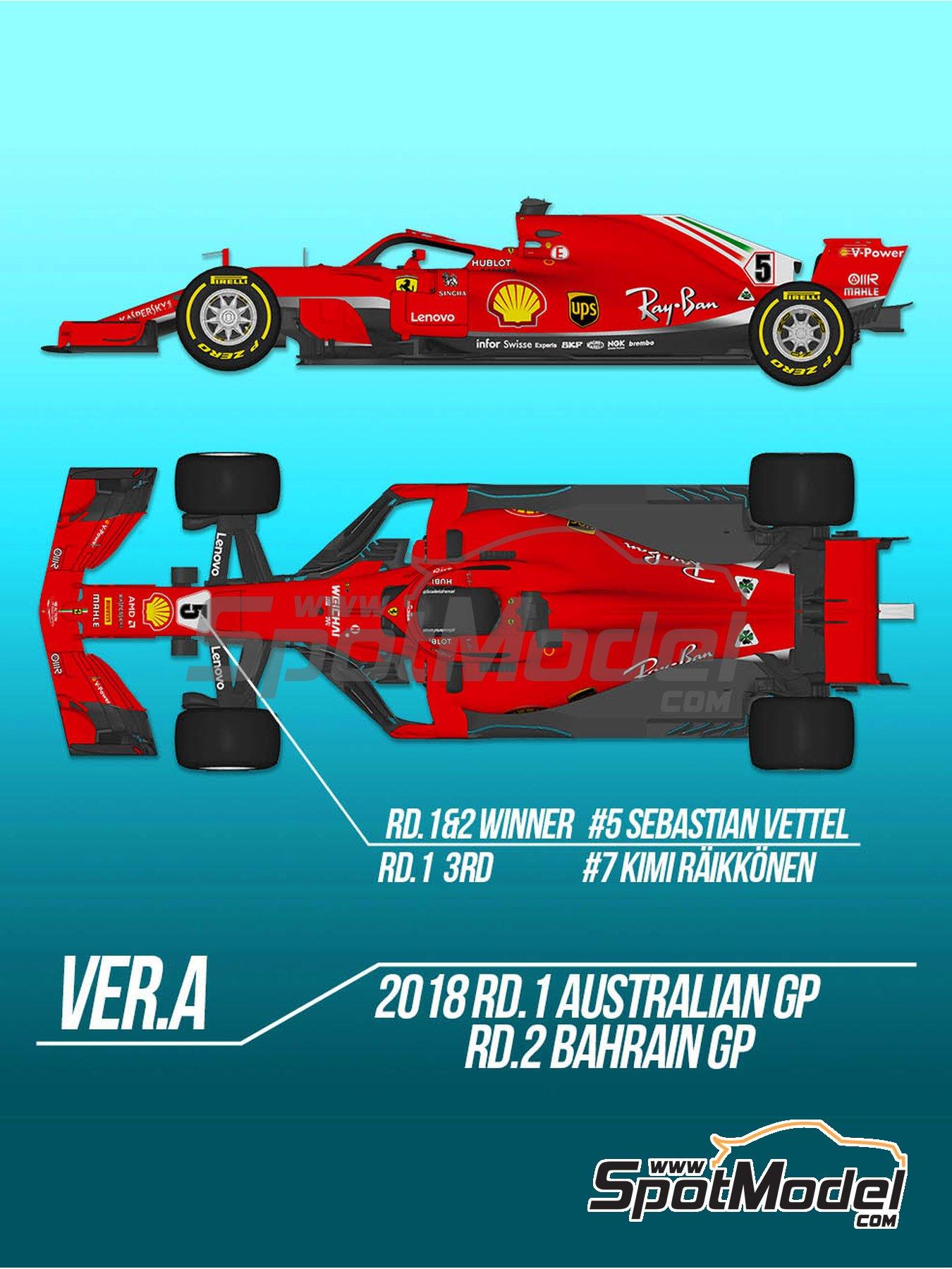 Ferrari SF71H - Gran Premio de Fórmula 1 de Australia, Gran Premio de Fórmula 1 de Bahrein 2018   Maqueta de coche en escala1/12 fabricado por Model Factory Hiro (ref.MFH-K670, tambien K-670) image