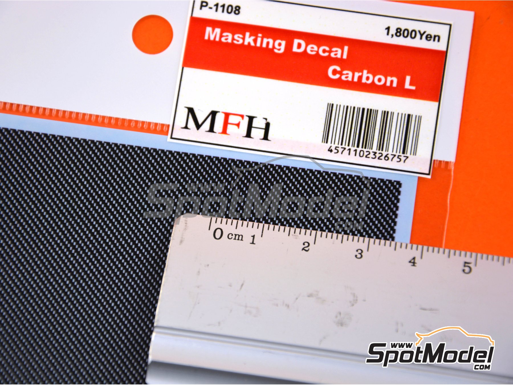 Image 3: Large carbon fiber pattern | Masks manufactured by Model Factory Hiro (ref. MFH-P1108)