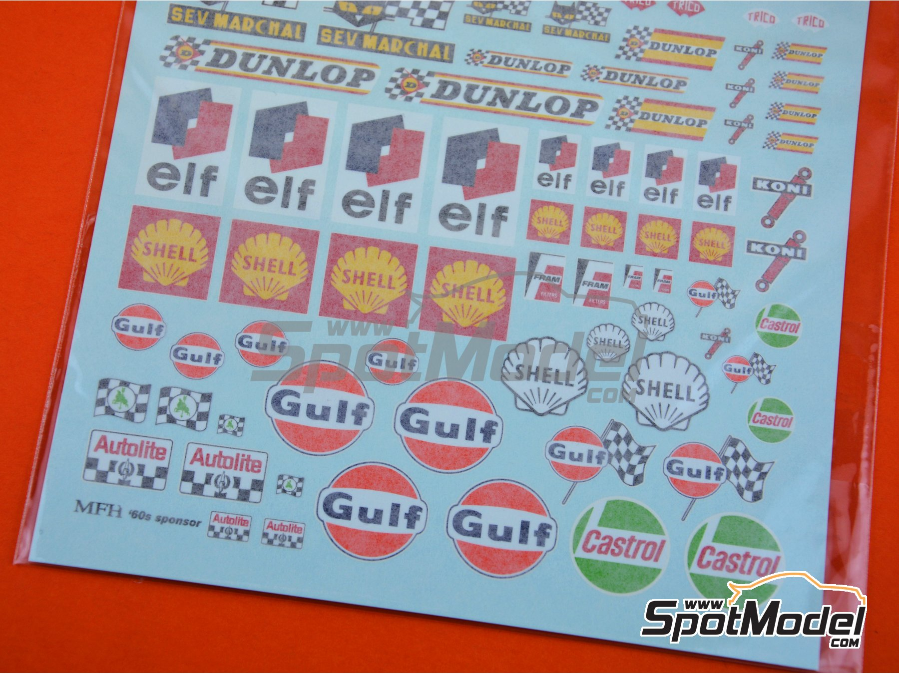 Image 4: 1960's sponsors: Ferodo, Bosch, Girling, Cibie, STP, Champion, Firestone, Trico, Dunlop, Castrol, Gulf, Shell, ELF, Koni... | Logotypes manufactured by Model Factory Hiro (ref. MFH-P1124)