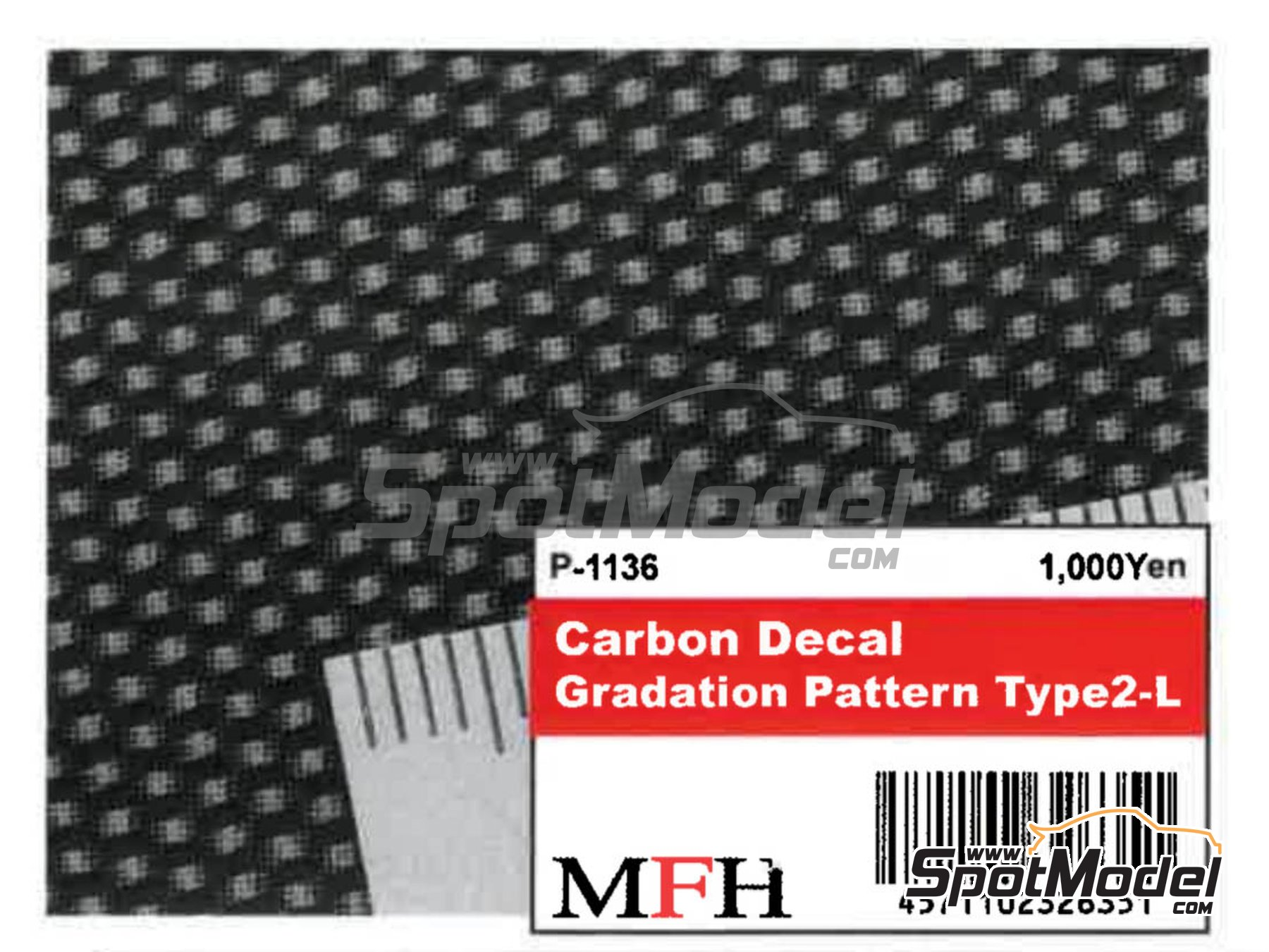 Image 2: Carbon Decal Gradation Pattern Type 2 Large | Decals manufactured by Model Factory Hiro (ref. MFH-P1136)