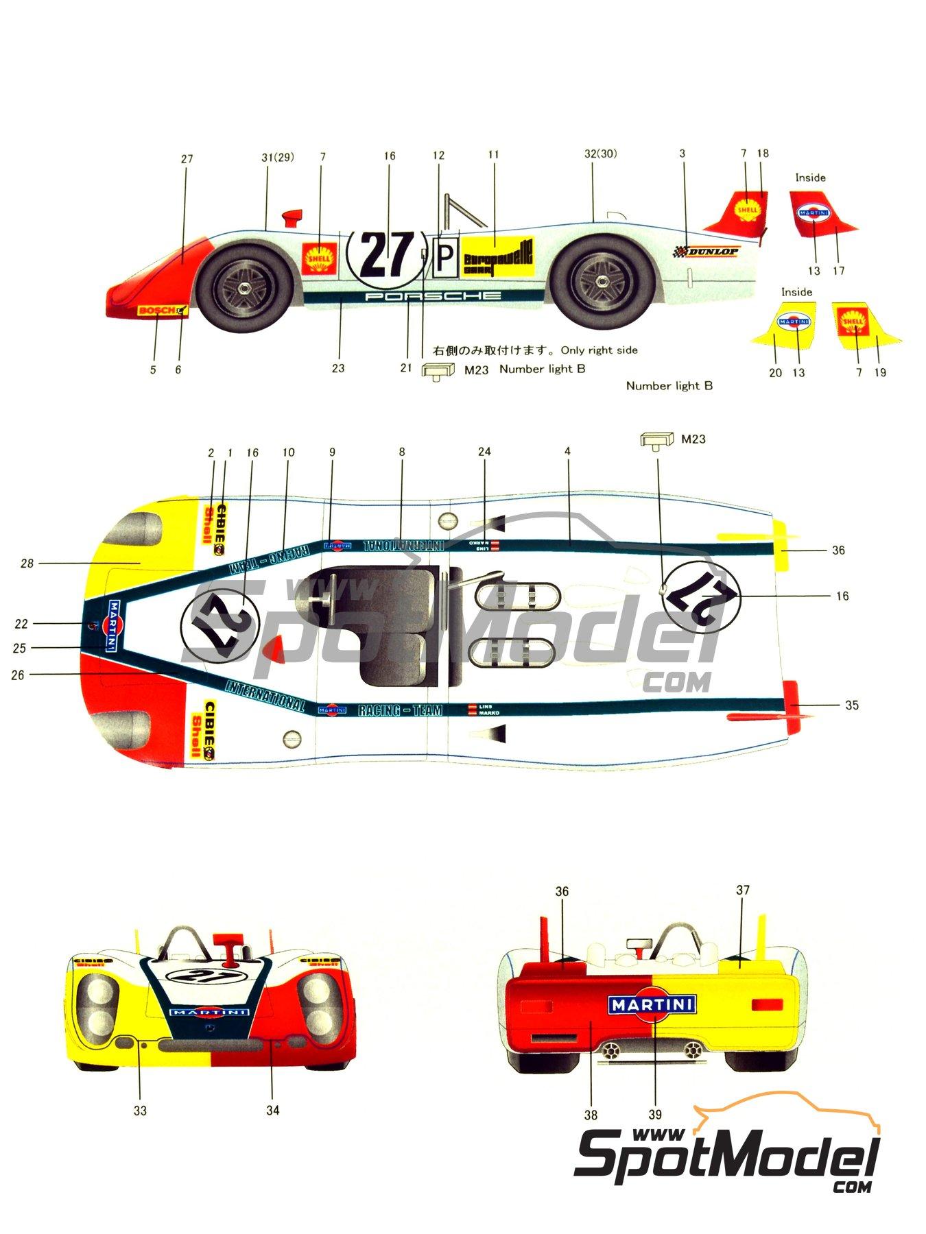 Porsche 908/2 Martini - 24 Horas de Le Mans 1970   Maqueta de coche en escala1/24 fabricado por Model Factory Hiro (ref.MH-L-6, tambien MFH-L-6) image