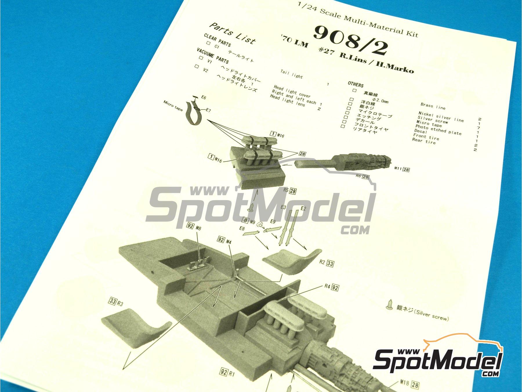 Image 25: Porsche 908/2 Martini - 24 Horas de Le Mans 1970   Maqueta de coche en escala1/24 fabricado por Model Factory Hiro (ref.MH-L-6, tambien MFH-L-6)