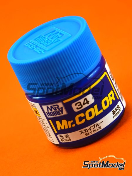 Azul cielo - Sky blue - 1 x 10ml | Pintura de la gama Mr Color fabricado por Mr Hobby (ref. C034) image