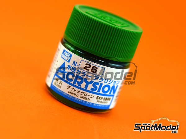Image 1: Verde brillante - Bright Green - 1 x 10ml | Pintura gama Acrysion Color fabricado por Mr Hobby (ref. N-026)