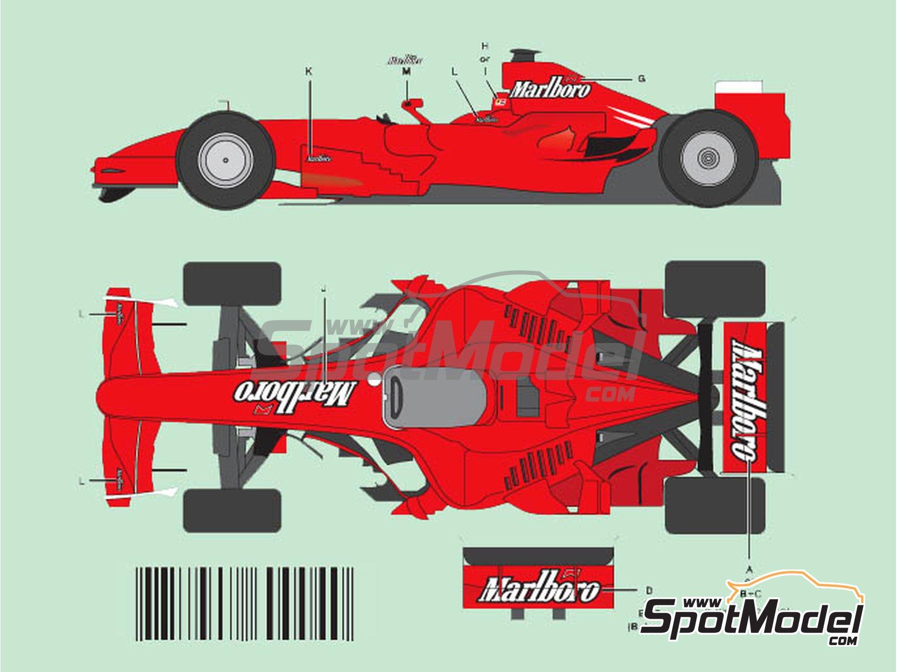 Image 1: Ferrari F2007 Marlboro - Gran Premio de Fórmula 1 de Bahrein, Gran Premio de Fórmula 1 de China, Gran Premio de Formula 1 de Mónaco | Decoración en escala1/20 fabricado por Nicolecron Decals (ref.NLD-004F1)
