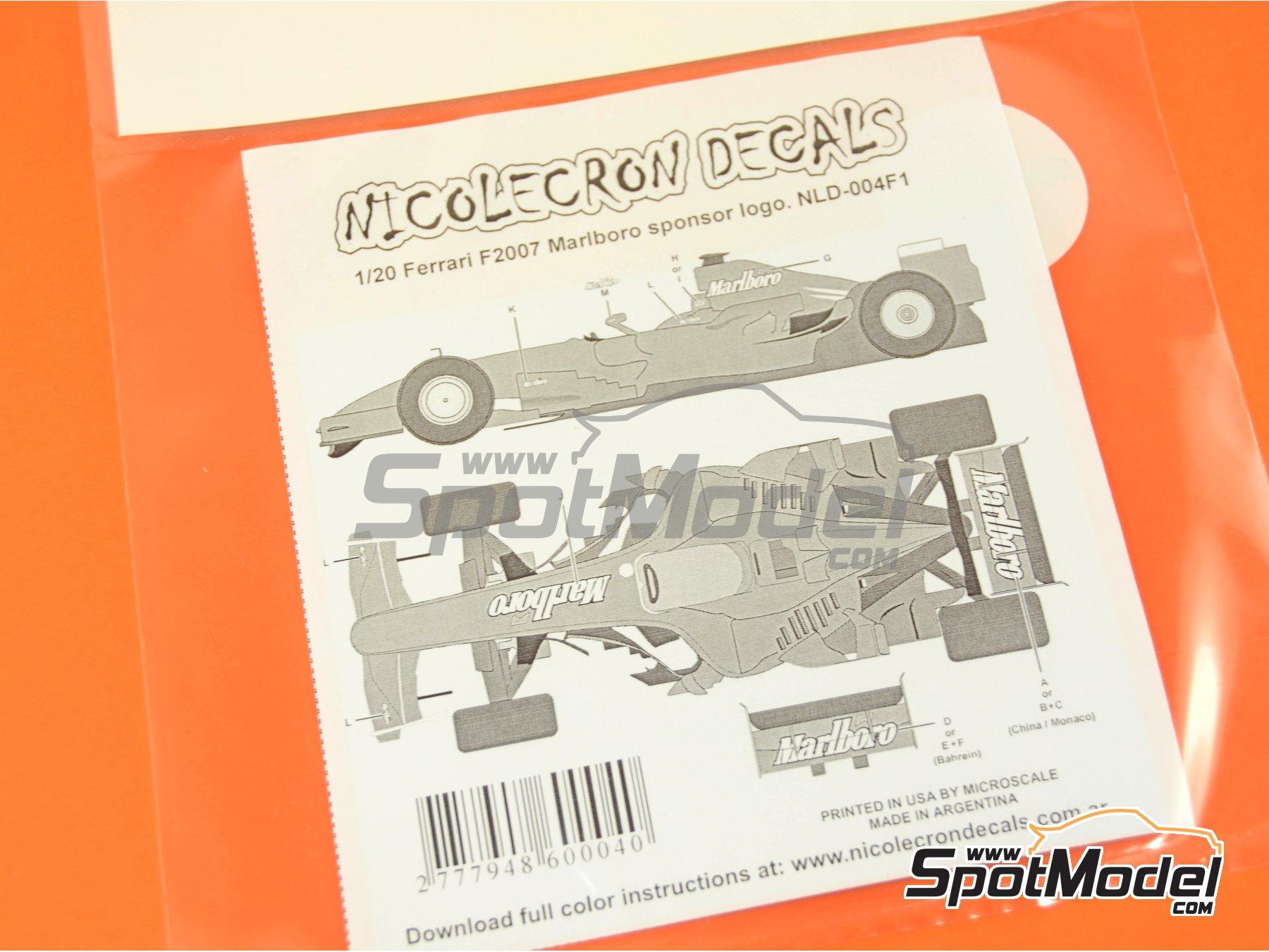 Image 6: Ferrari F2007 Marlboro - Gran Premio de Fórmula 1 de Bahrein, Gran Premio de Fórmula 1 de China, Gran Premio de Formula 1 de Mónaco | Decoración en escala1/20 fabricado por Nicolecron Decals (ref.NLD-004F1)