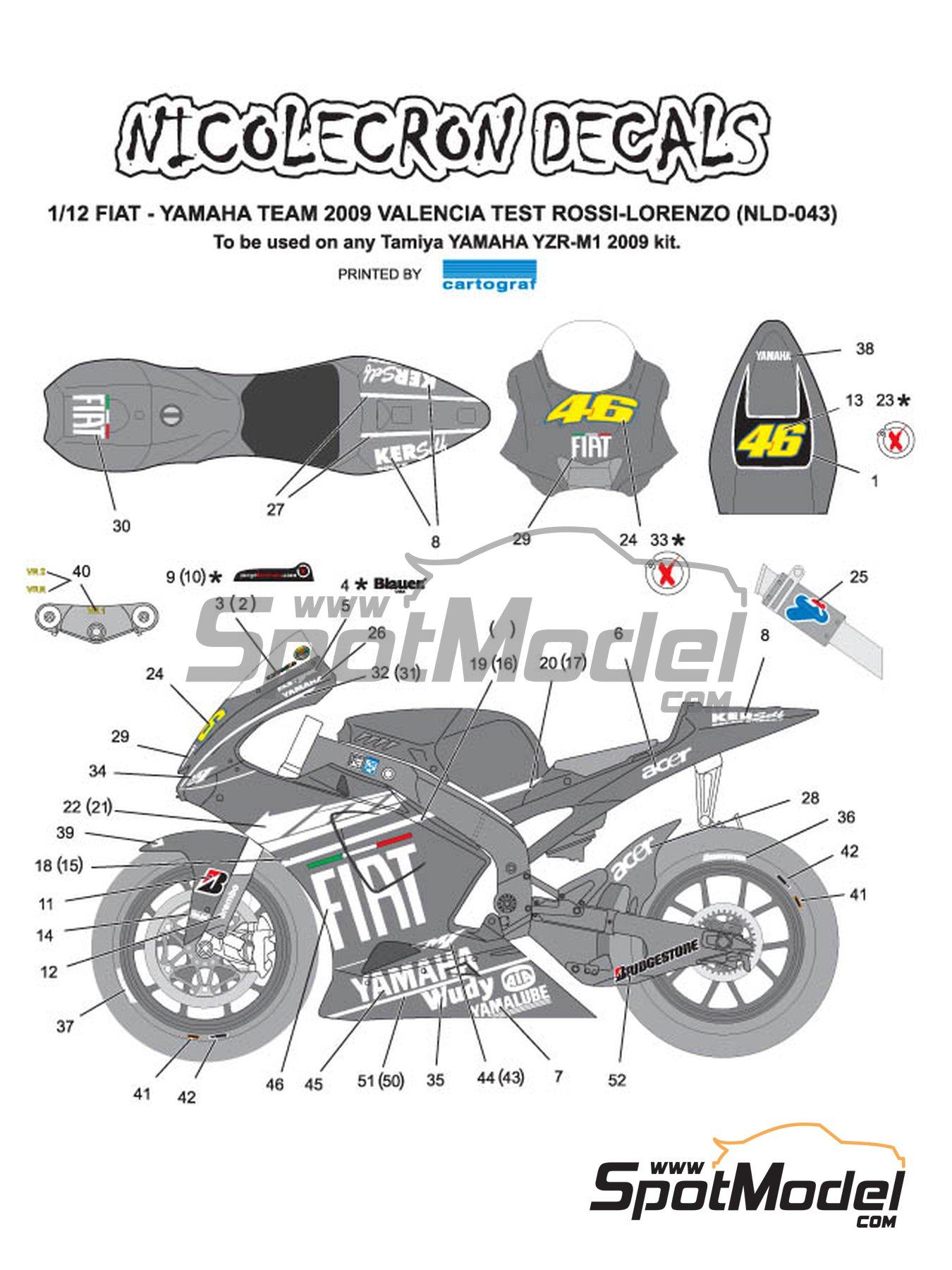 Yamaha YZR-M1 - Version de test 2009 | Decoración en escala1/12 fabricado por Nicolecron Decals (ref.NLD-043) image