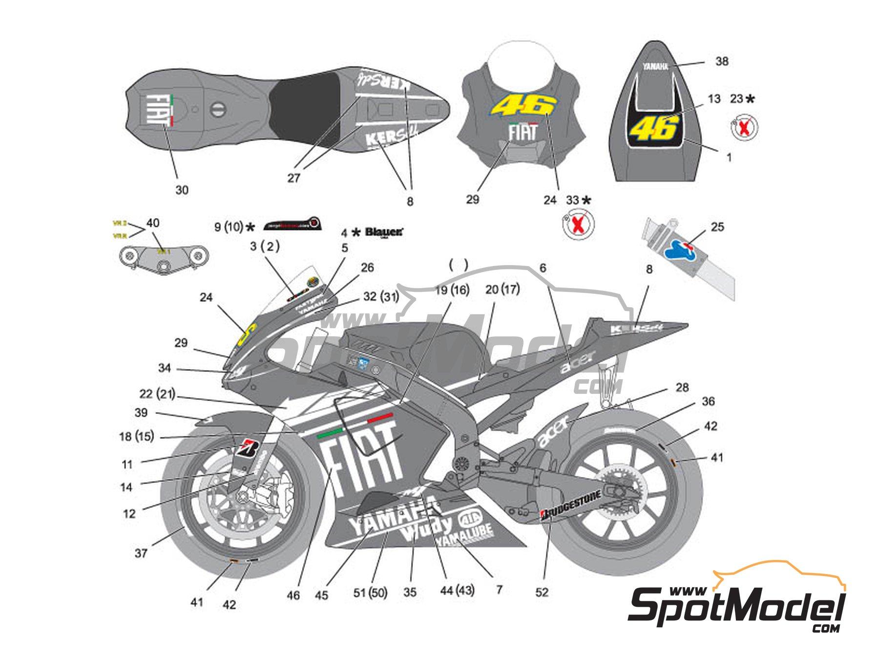 Image 1: Yamaha YZR-M1 - Version de test 2009 | Decoración en escala1/12 fabricado por Nicolecron Decals (ref.NLD-043)