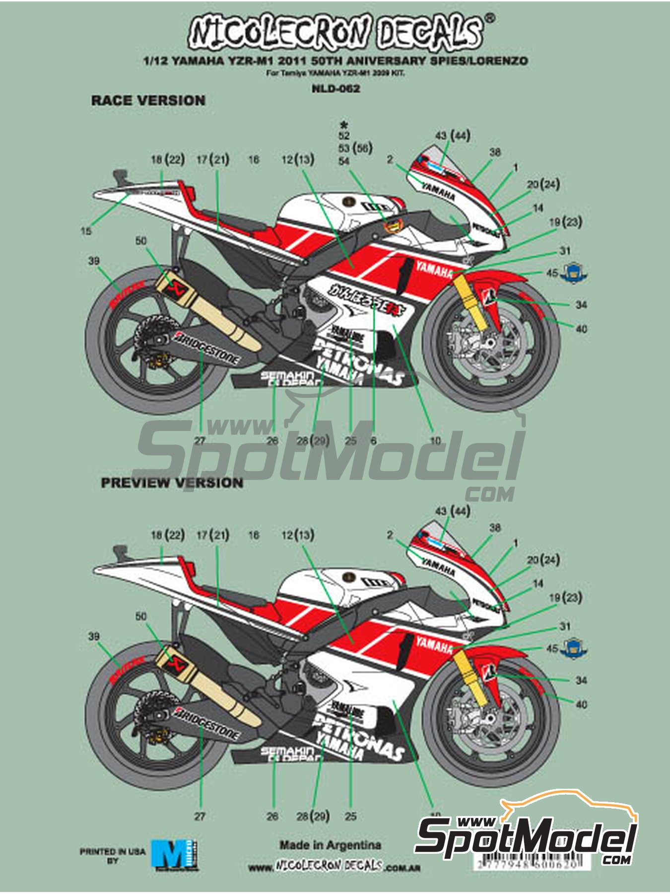 Yamaha YZR-M1 Petronas - Motorcycle World Championship 2011   Marking / livery in 1/12 scale manufactured by Nicolecron Decals (ref.NLD-062) image