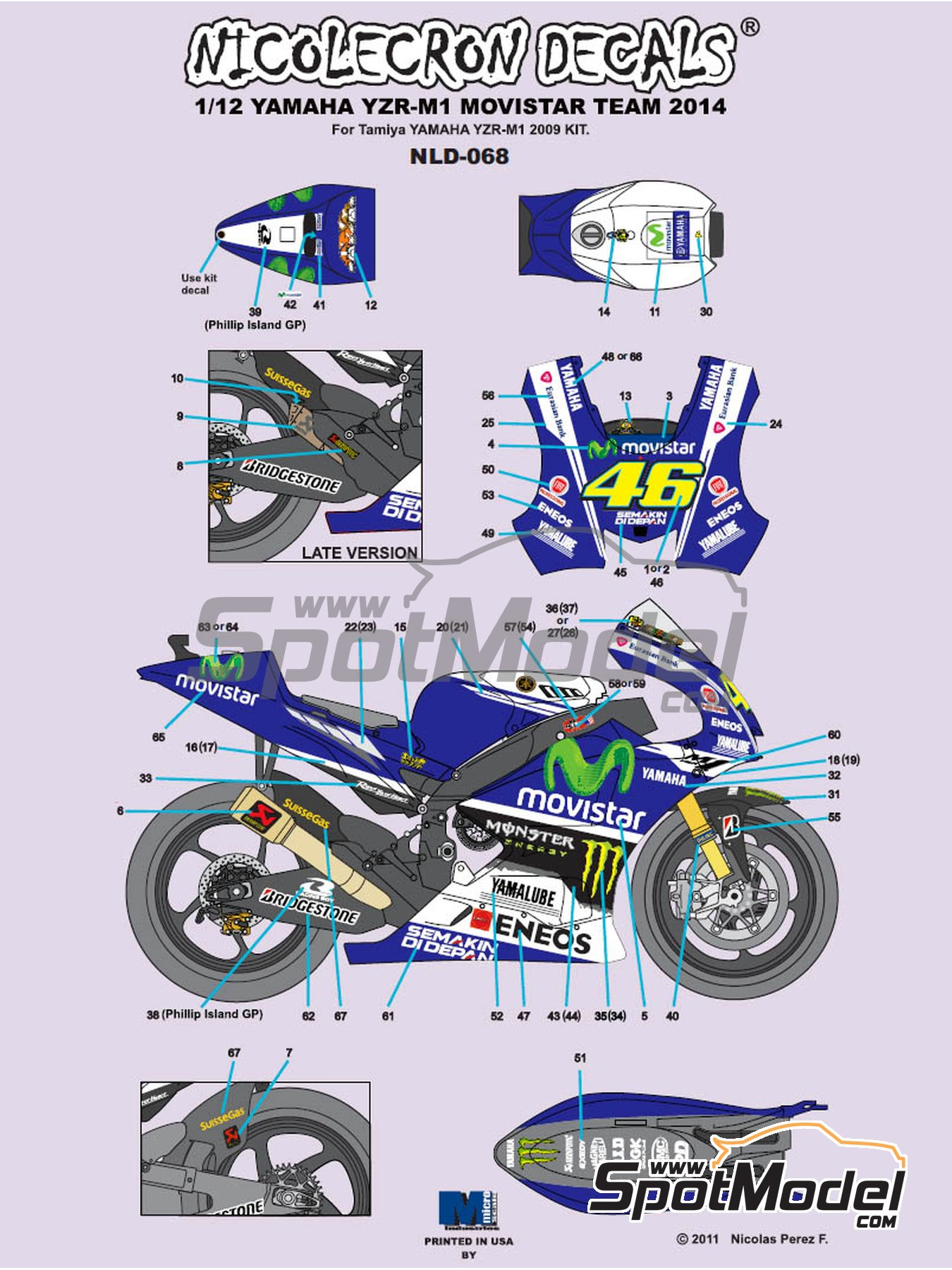 Yamaha YZR-M1 Movistar Team - Motorcycle World Championship 2014 | Marking / livery in 1/12 scale manufactured by Nicolecron Decals (ref. NLD-068) image