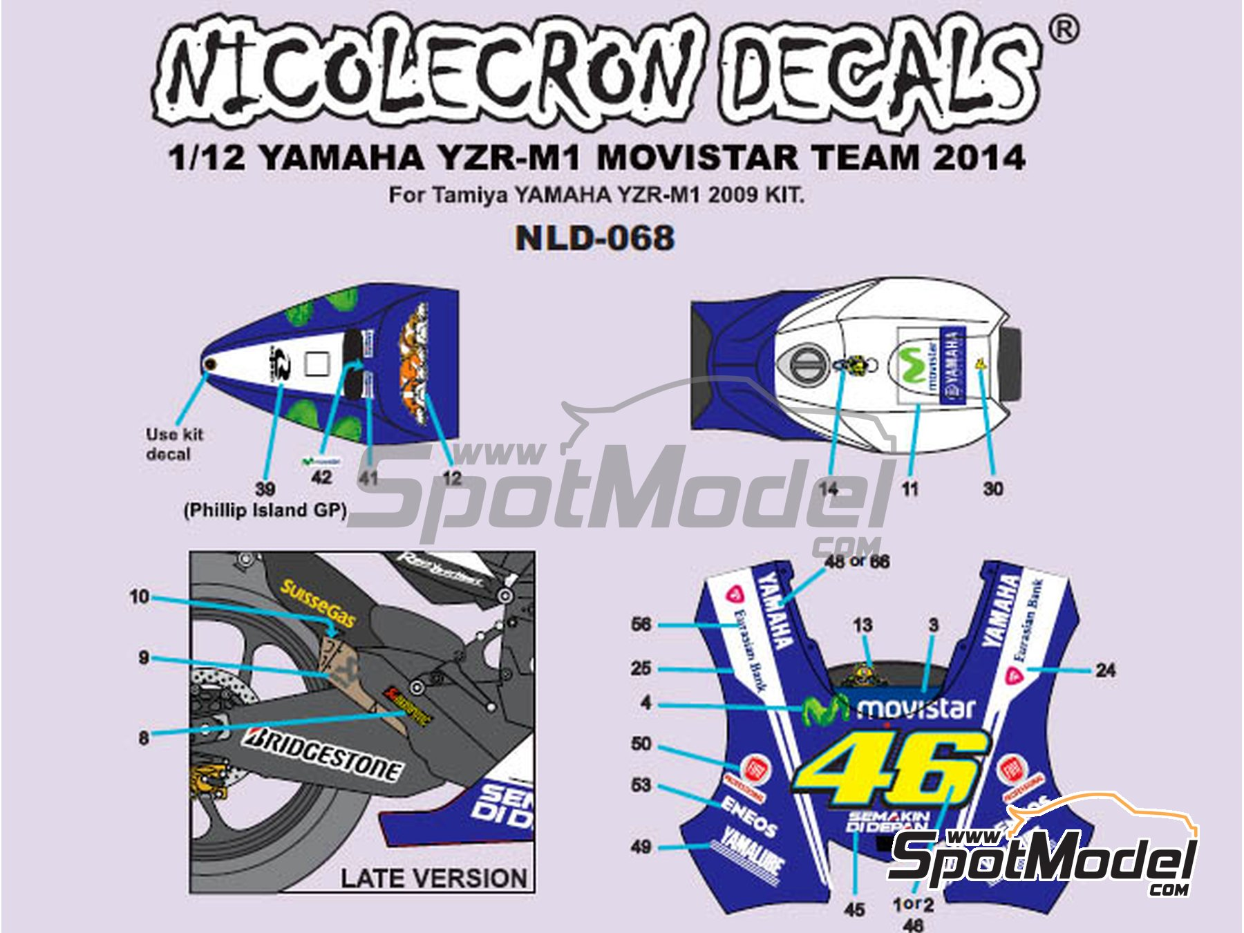 Image 1: Yamaha YZR-M1 Movistar Team - Motorcycle World Championship 2014 | Marking / livery in 1/12 scale manufactured by Nicolecron Decals (ref. NLD-068)